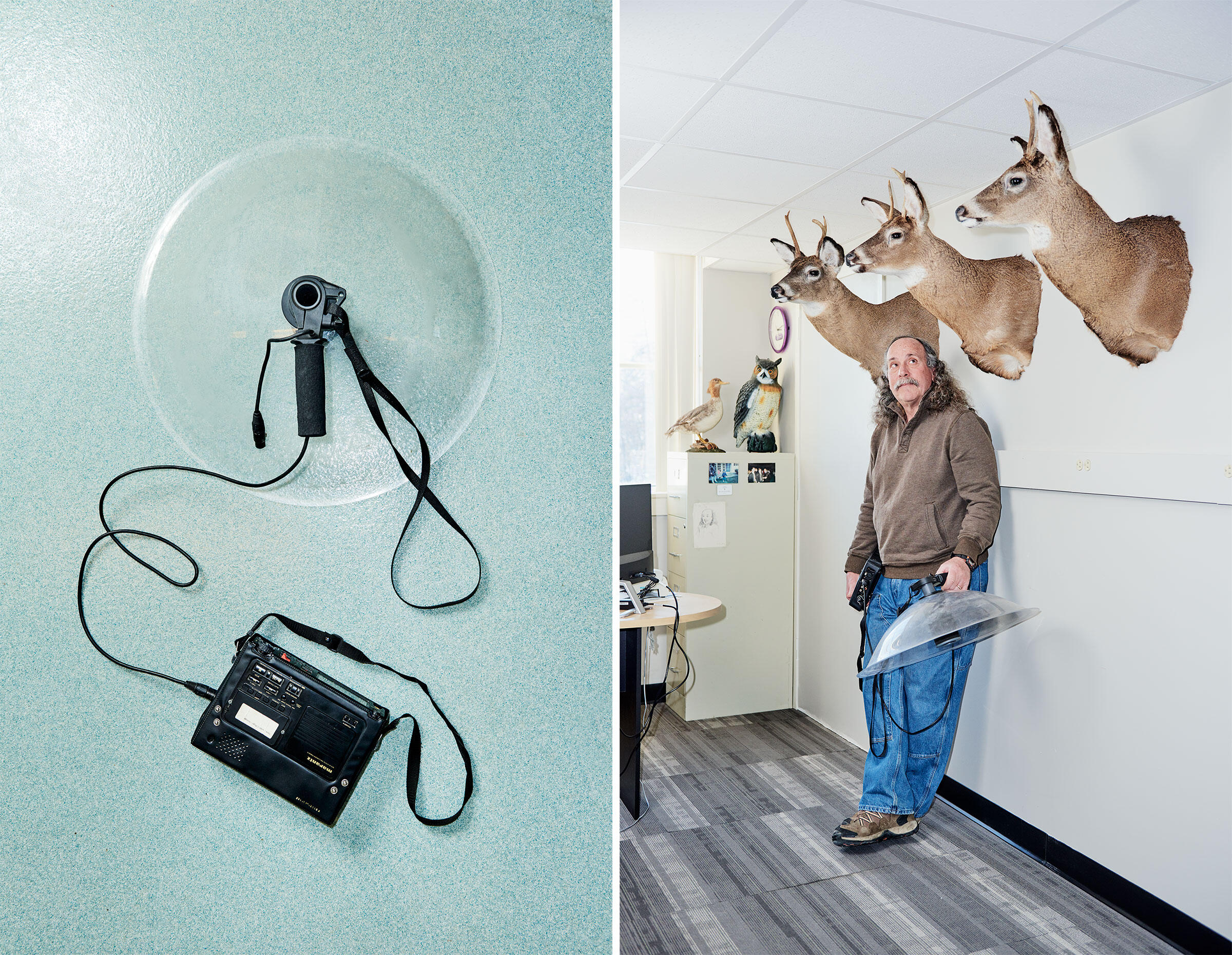 From left: The device Jay Pitocchelli uses to record birdsong; Pitocchelli in his office at Saint Anselm College in New Hampshire. Photos: Tony Luong
