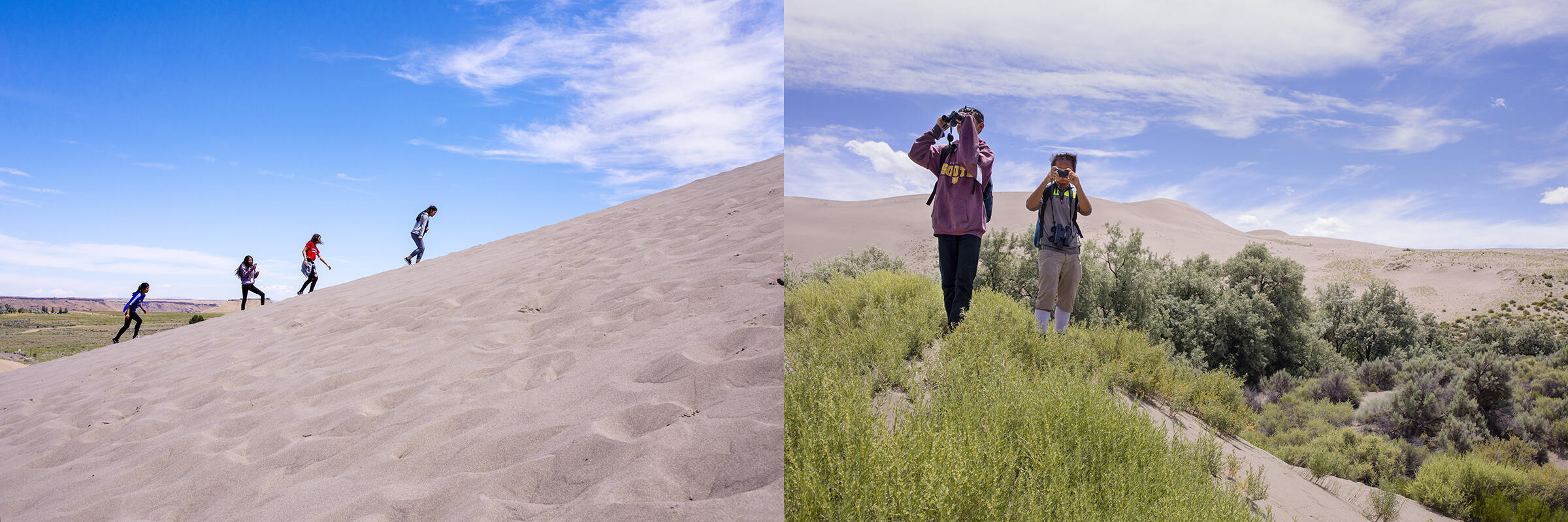 Campers visit Bruneau Dunes State Park and tackle the tallest single sand dune in North America on the first day of the 2018 New Roots program. Photos: Mike Fernandez/Audubon
