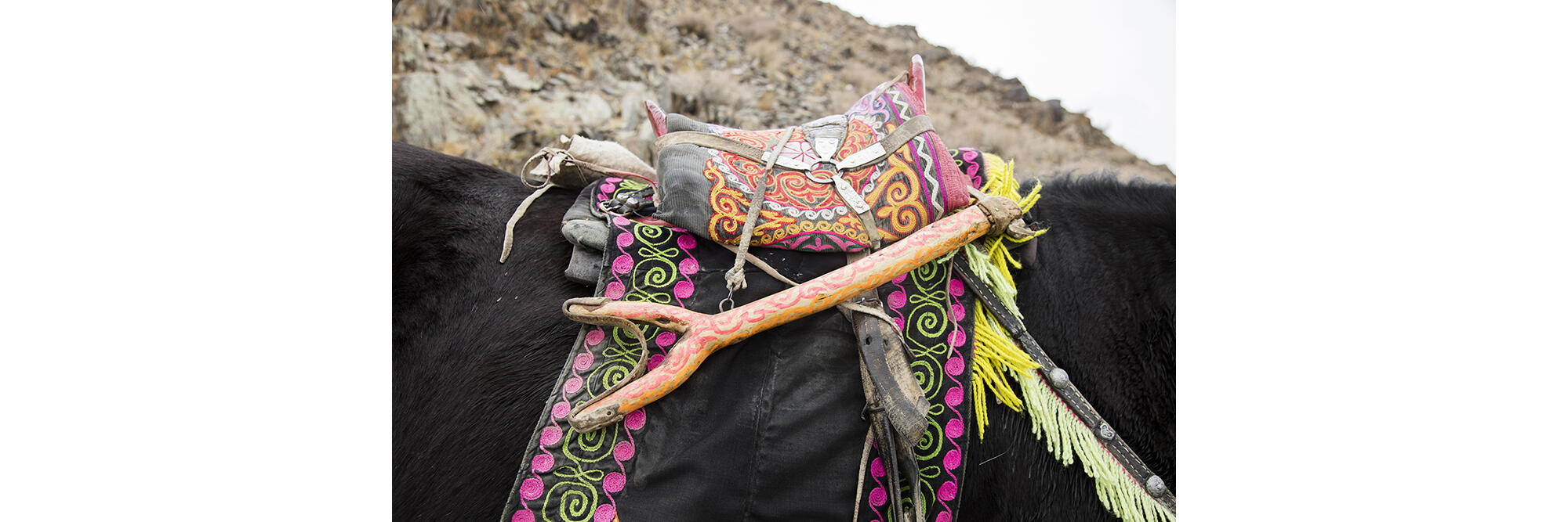 Itale's saddle is equipped with a baldak, a Y-shaped rest made from wood or bone that supports his arm so that he can hold his eagle while riding on horseback. Cedric Angeles/Intersection Photos