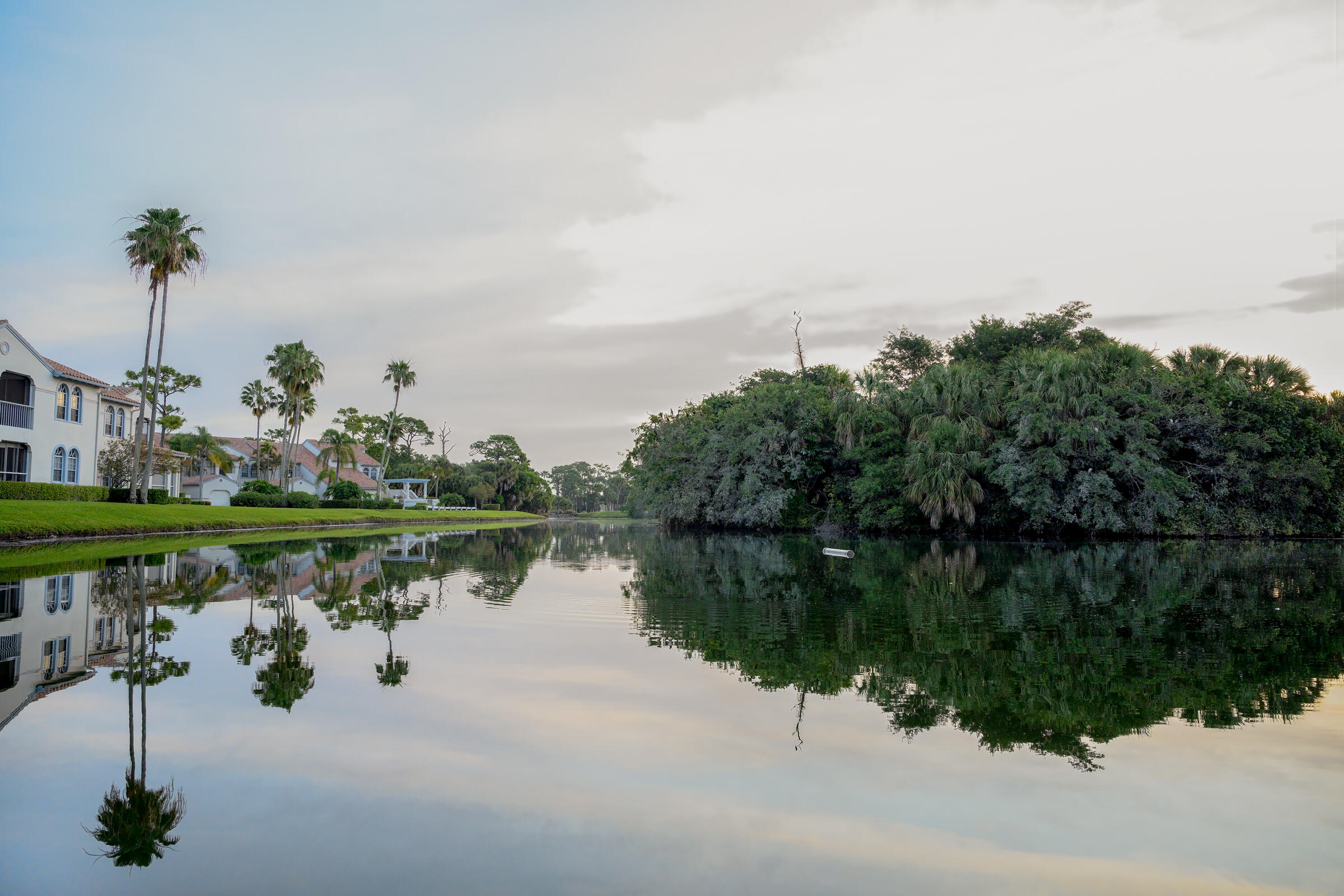 A waterway bisects wild-looking islands full of trees to the right and a manicured row of stucco-roofed houses, lawns, and palm trees to the left.