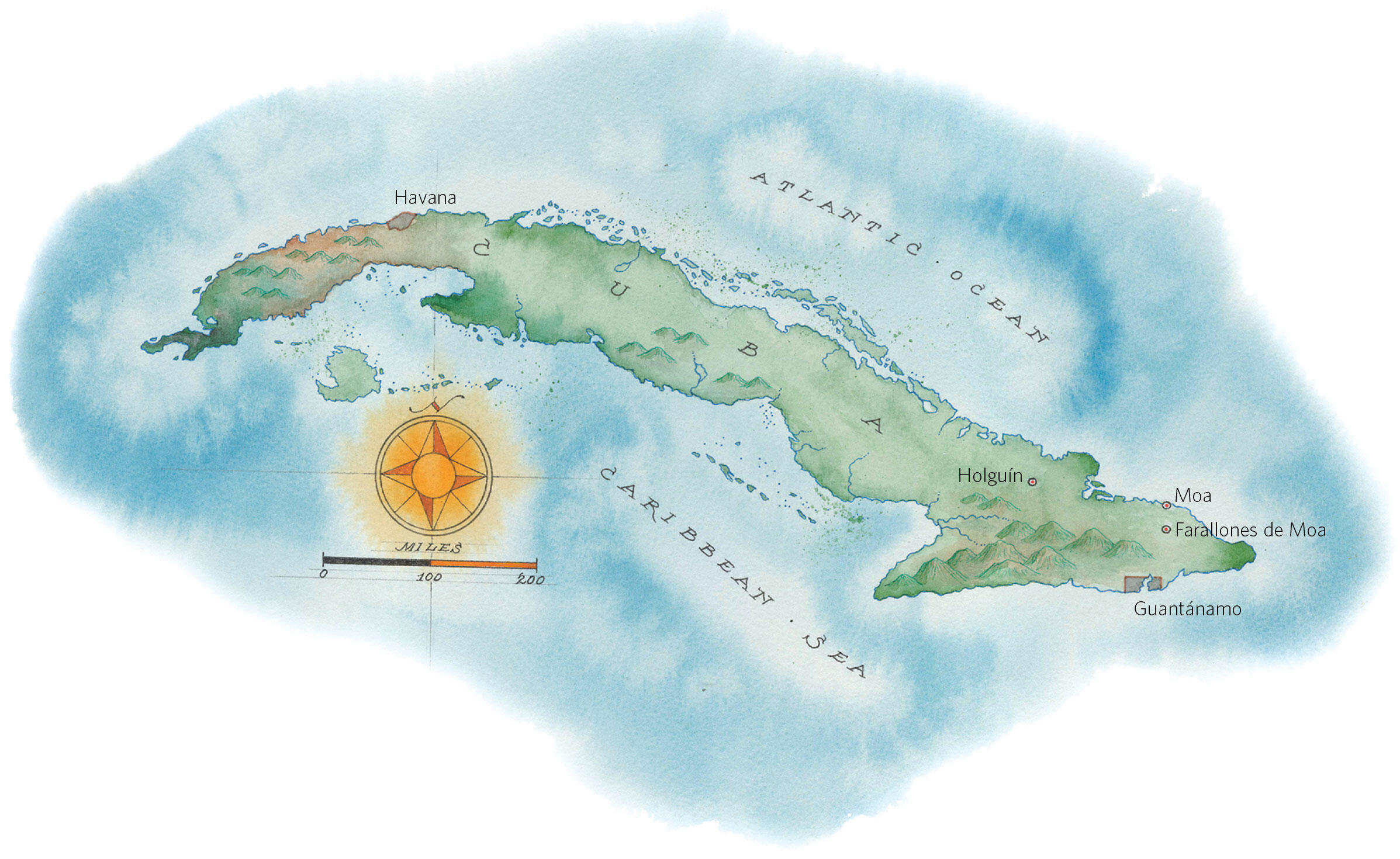 Cuba is the only place besides the southeastern U.S. that Ivory-billed Woodpeckers lived. Some hold out hope that a remnant population hangs on in the island's eastern mountains. Map: Mike Reagan