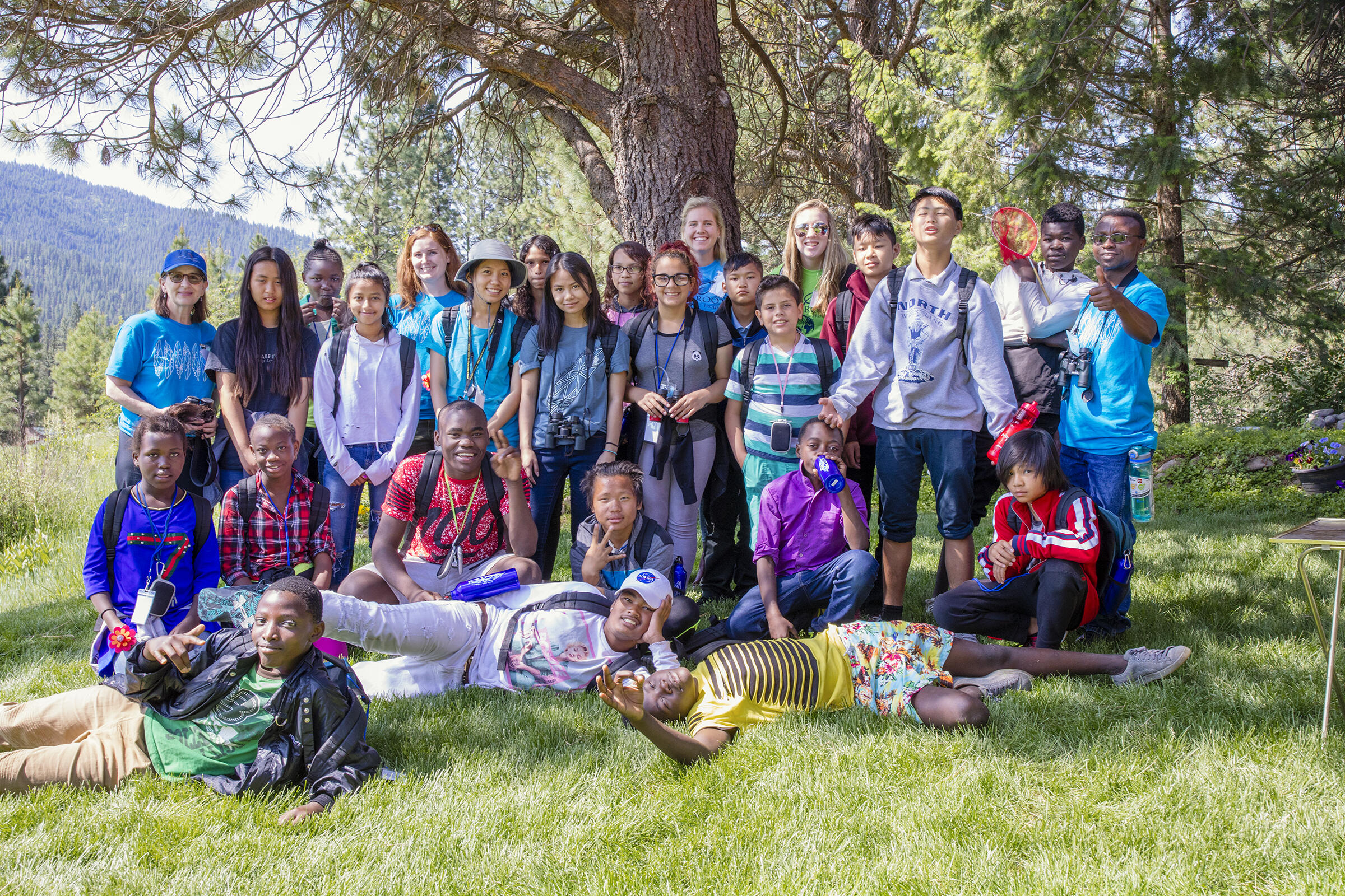 Most of the campers gather for a photo after the hummingbird banding lesson on day two of the program. Mike Fernandez/Audubon