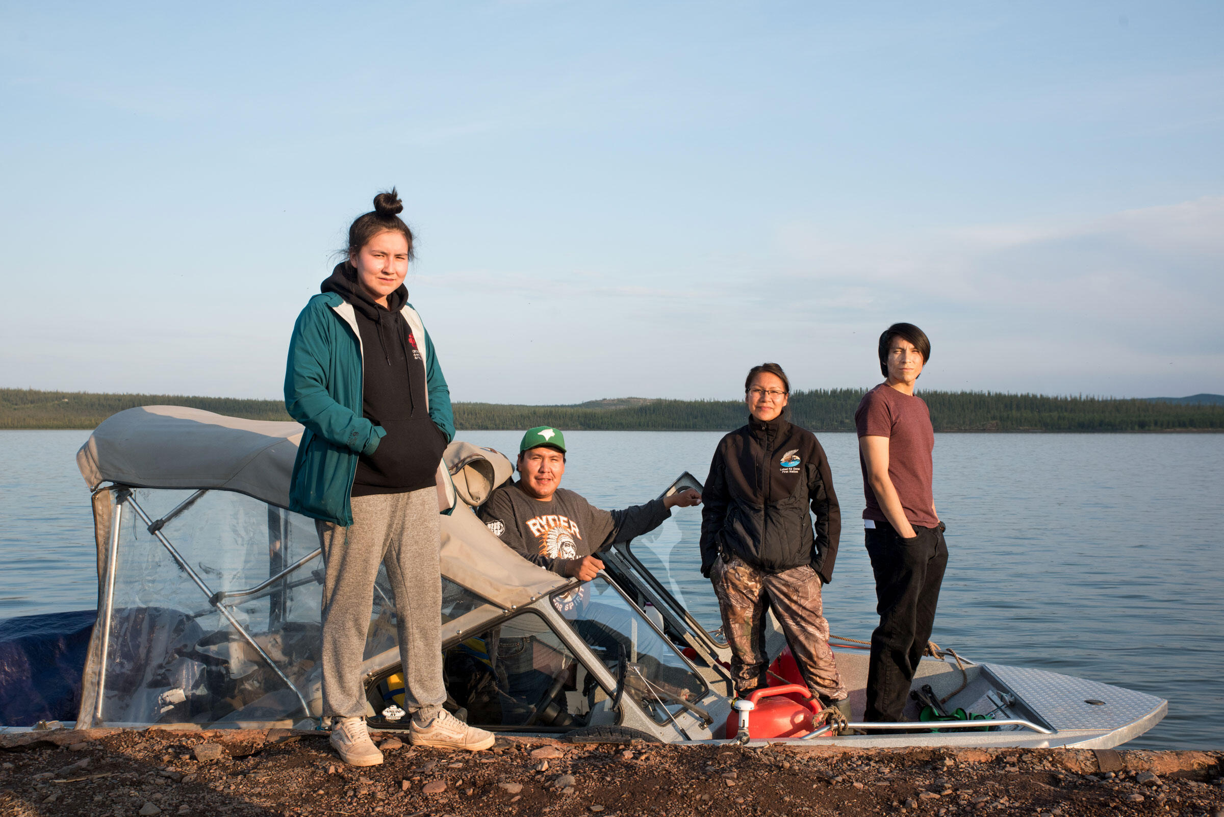 Chyanna Catholique, 17, Chase Lockhart, 20, Shauna Catholique, 30 and Tyson Marlowe, 19, are members of the Ni hat'ni Dene Rangers. Their job is to monitor the land, water, wildlife, and tourists who come to the reserve. Pat Kane