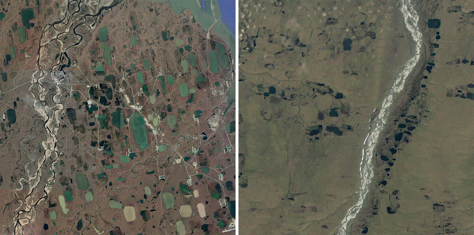 Satellite view of Prudhoe Bay (left) juxtaposed with the Arctic National Wildlife Refuge (right). Images: Google Earth