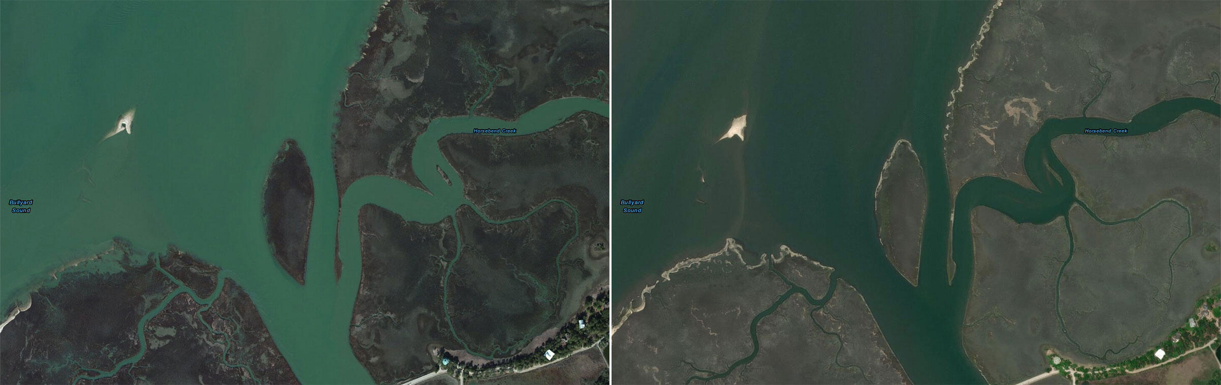 The surface area of Crab Bank in 2014 (left) versus today. Intensifying storms and wake from shipping traffic have caused the terrain to erode away. Maps: Courtesy of Esri