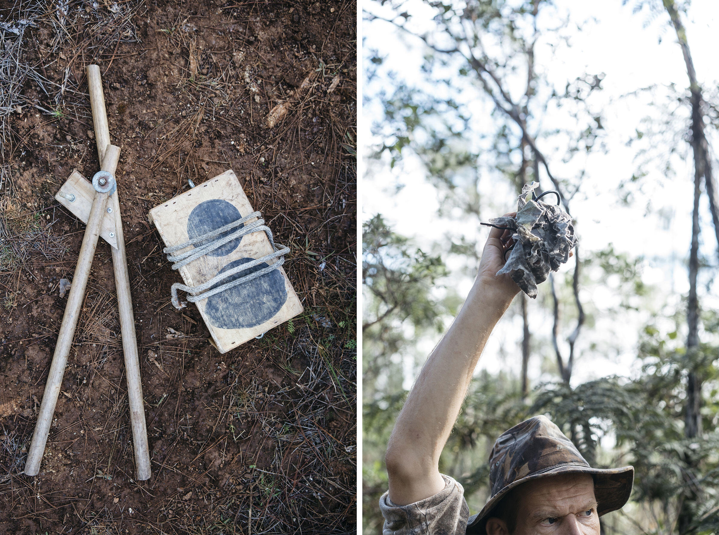 From left: The double knocker, which mimicks the sound an Ivory-billed Woodpecker would make on a pine tree; Lammertink broadcasts the feedback call of the Ivory-billed Woodpecker in Humbolt National Park. Photos: Greg Kahn