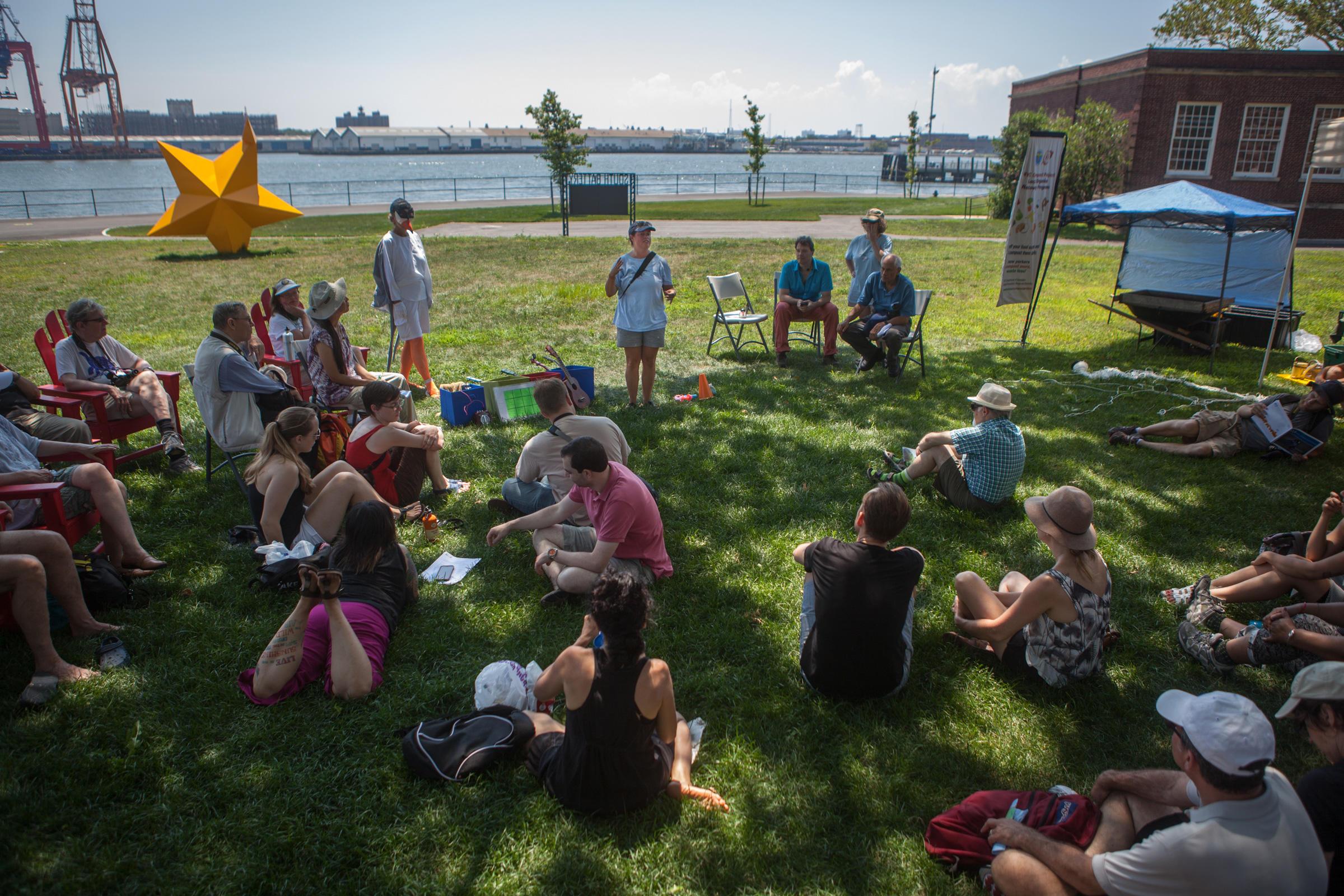 Elizabeth Craig talks to the crowd at NYC Audubon's tern festival on Governors Island. Camilla Cerea/Audubon