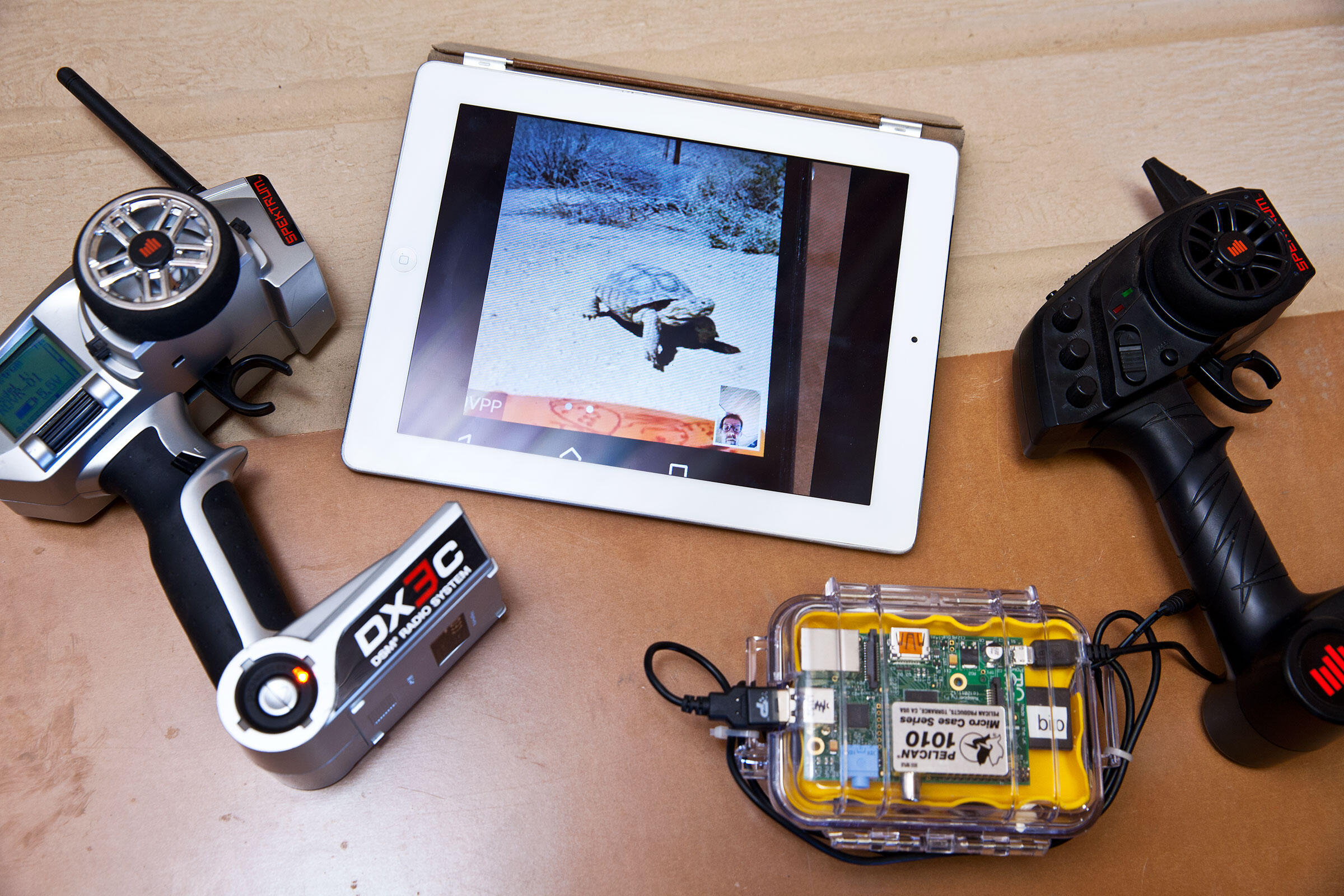 Rover controls and a tablet for remote monitoring. Tom Fowlks