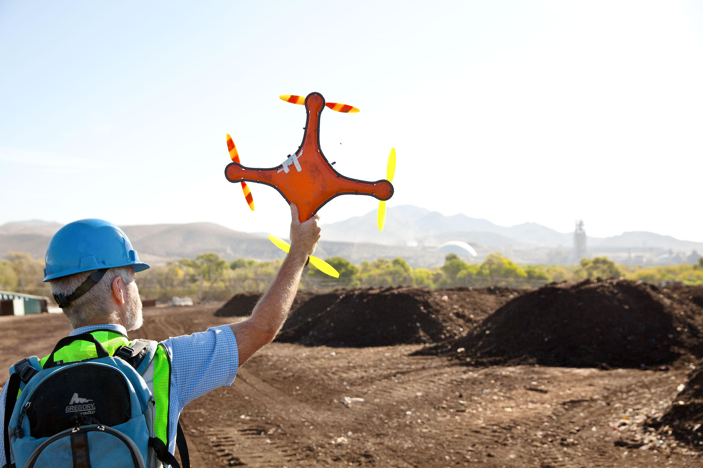 Tim Shields with a drone, one of a number of technologies being tested as bird deterrents. Tom Fowlks