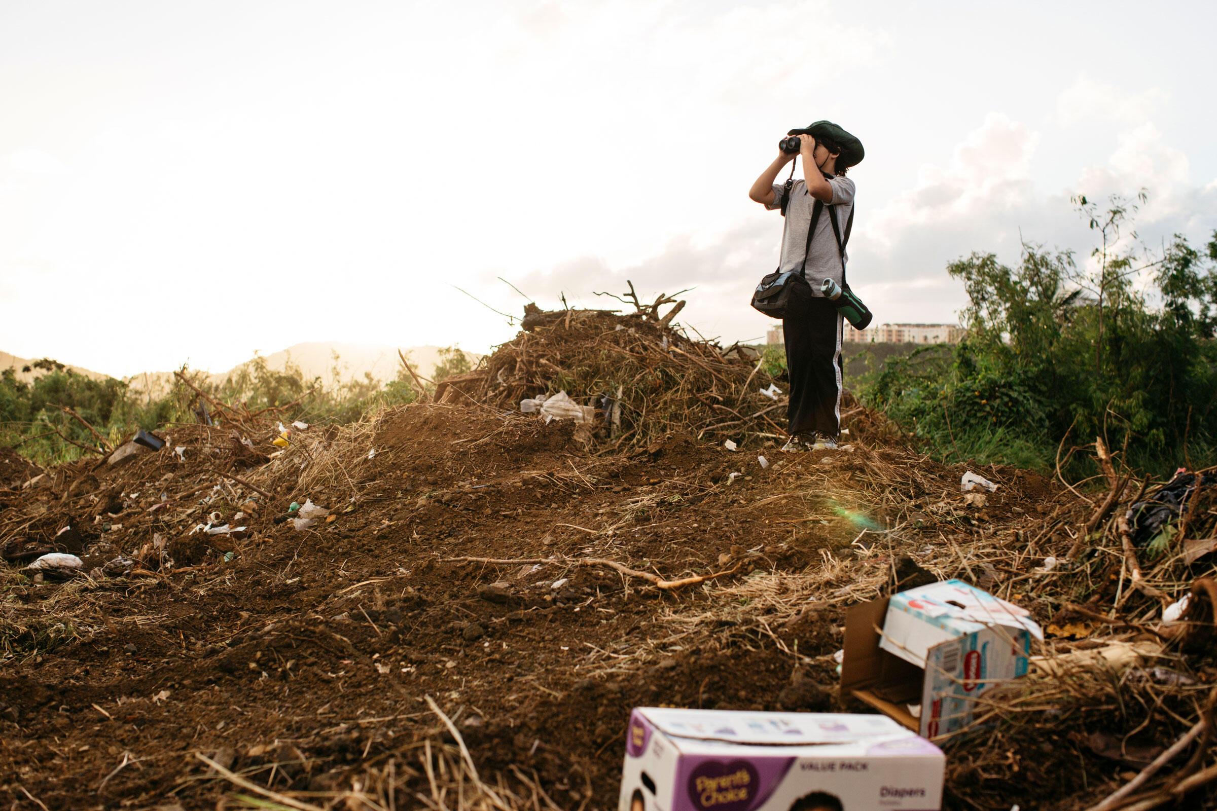 Jordi Salguero Roig, 10, searches for birds amid debris from Hurricane Maria. Erika P. Rodriguez