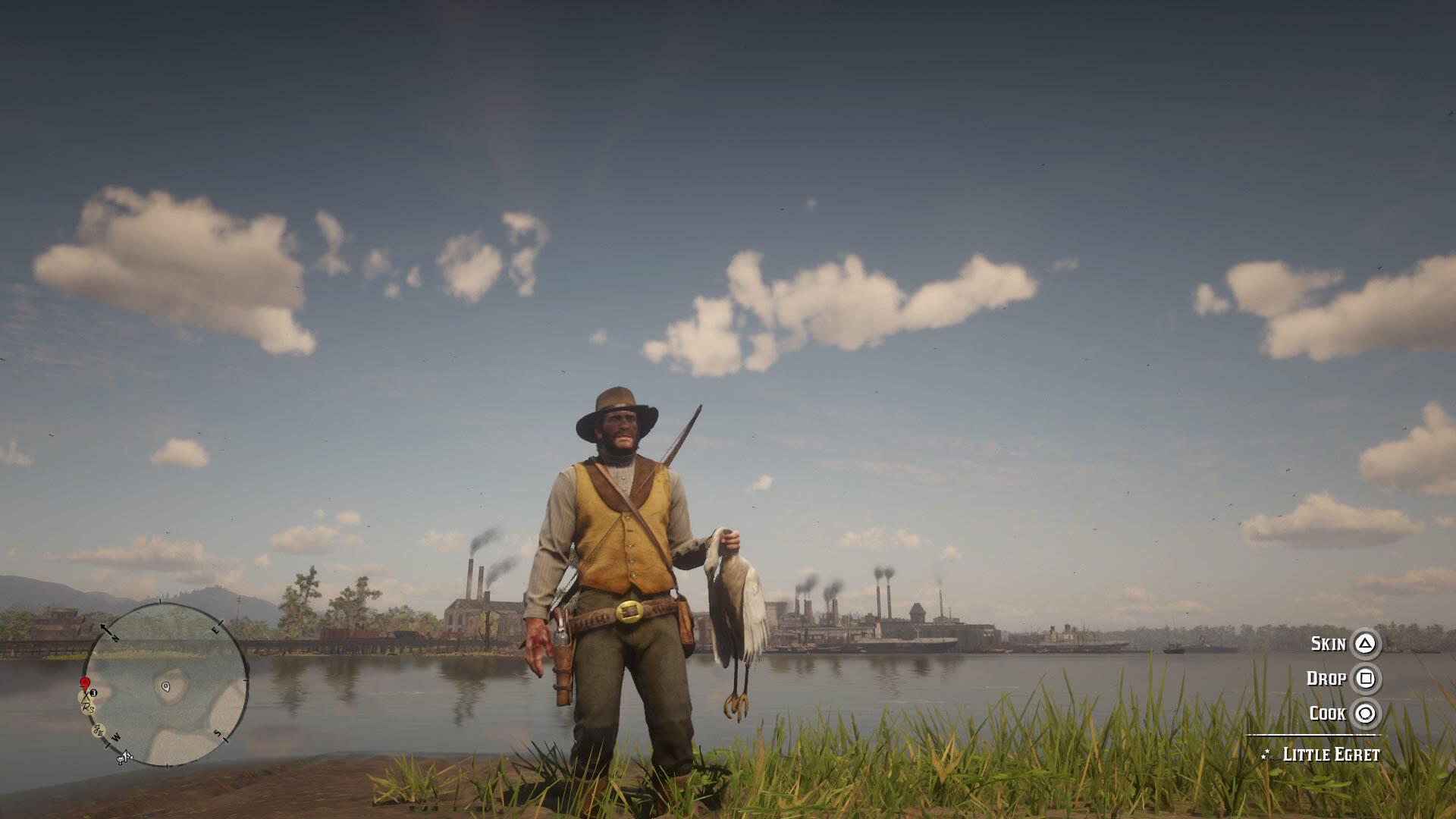 Arthur Morgan hunted a Little Egret. Image: Courtesy of Rockstar Games