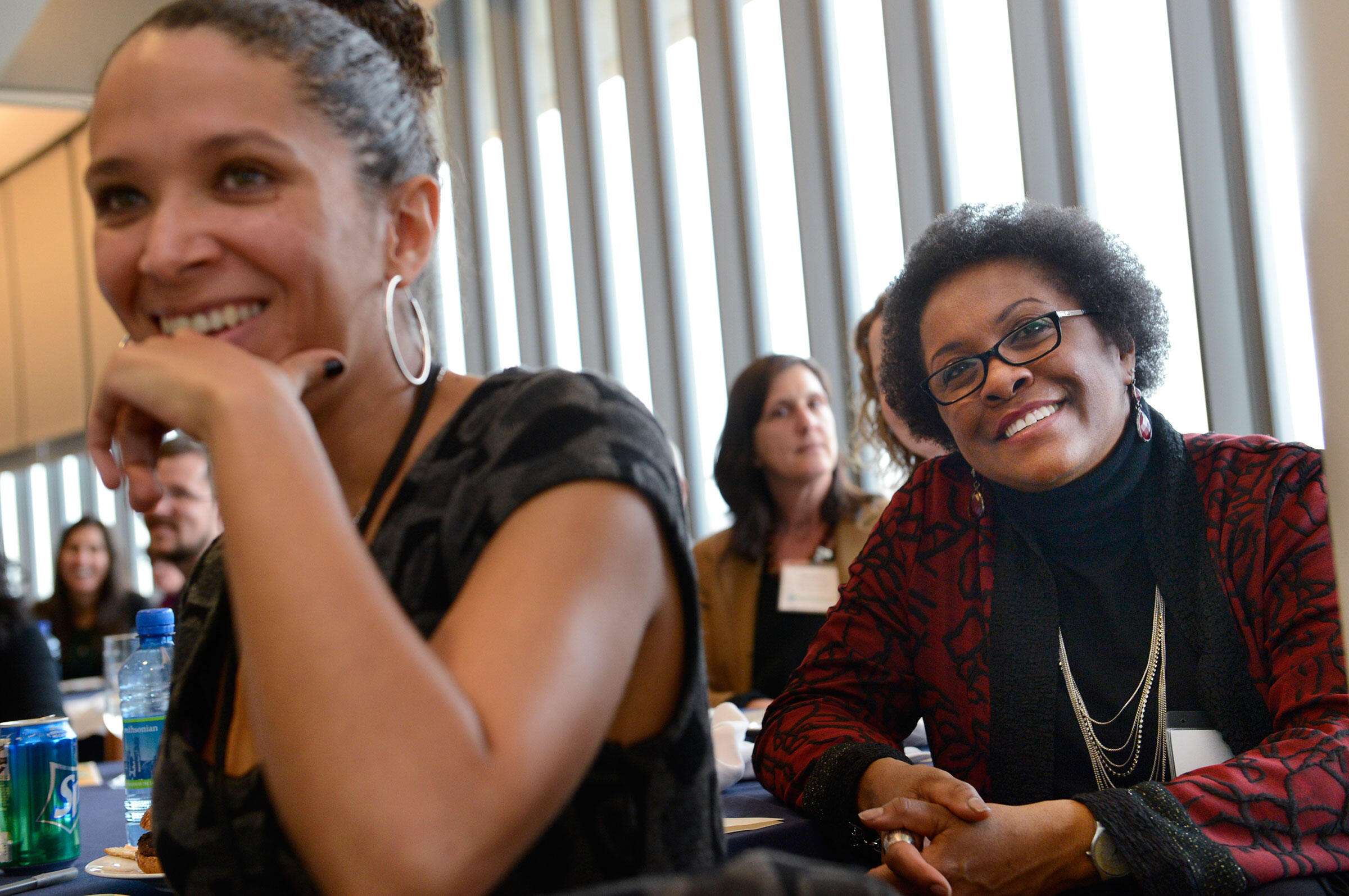 Luisa Arnedo (left) and Chandra listen to reports from Toyota TogetherGreen fellows in December 2012. Courtesy of Toyota Together Green