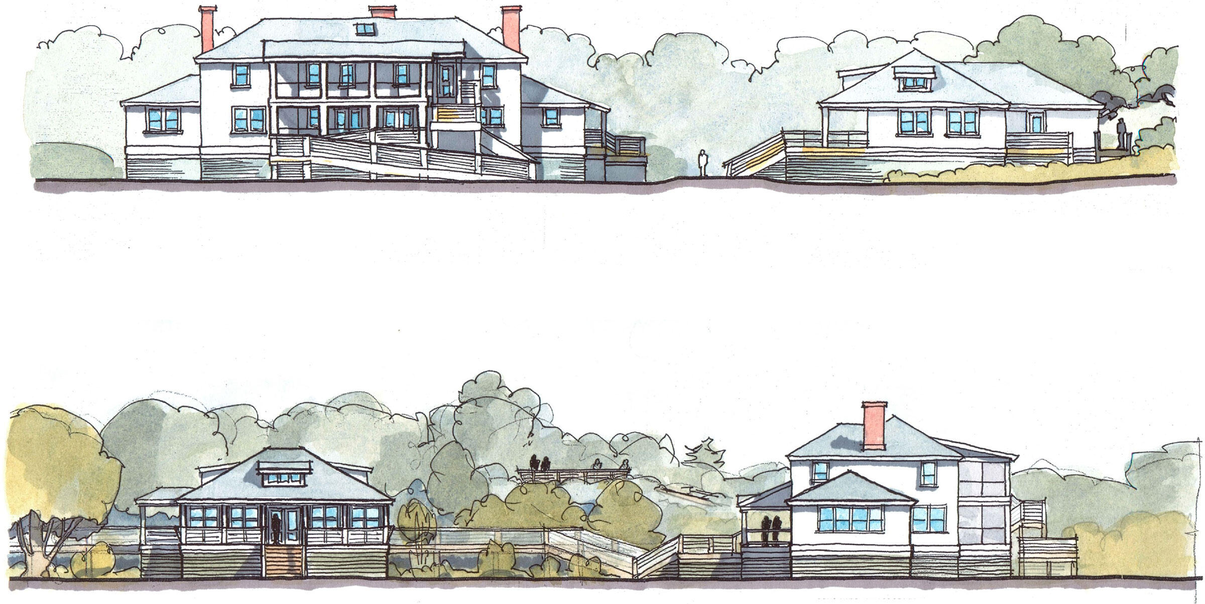 Audubon Carolina del Norte planea elevar la histórica cabaña de caza y otras estructuras mientras convierte a Pine Island en un centro de investigaciones de resiliencia costera. Render: Chip Hemingway/Bowman Murray Hemingway Arquitectos