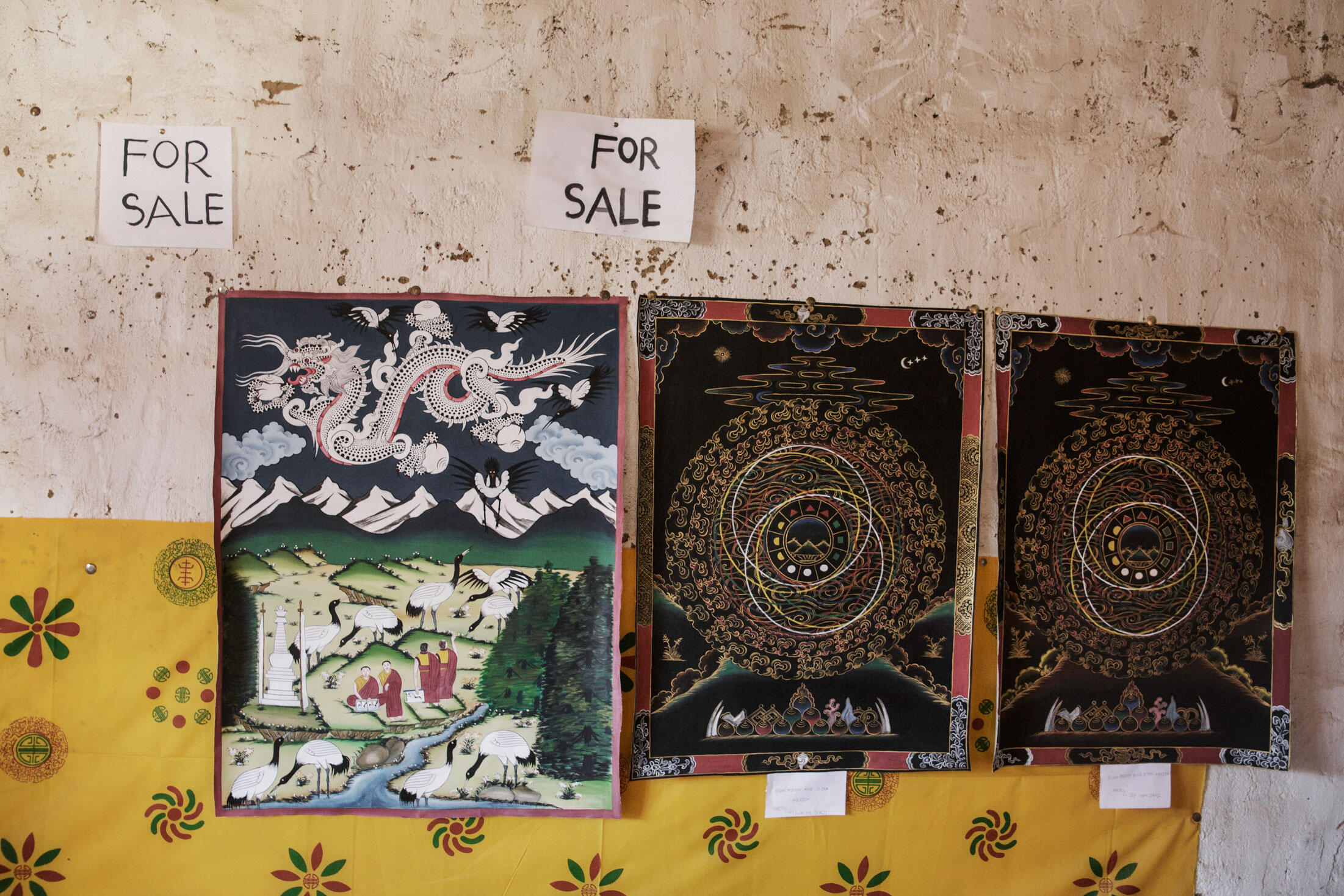 Artwork made by the resident monks for sale at the Gangtey Dzong. Ambika Singh