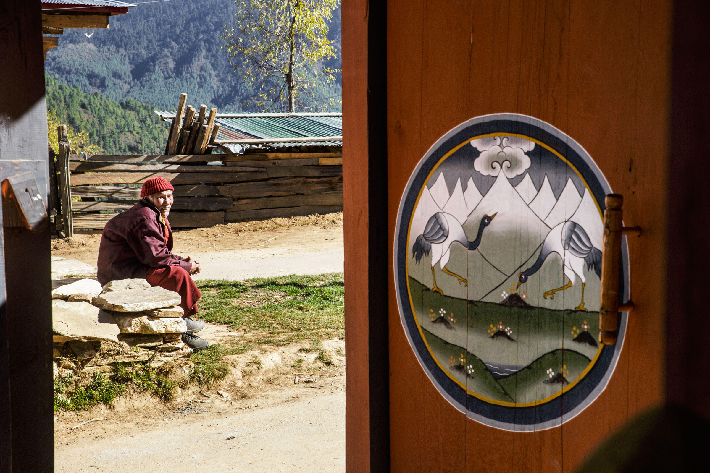 A monk sits outside the Gangtey Dzong, an ancient monastery. In the village surrounding the Dzong, the door to a residence depicts two Black-necked Cranes. Ambika Singh