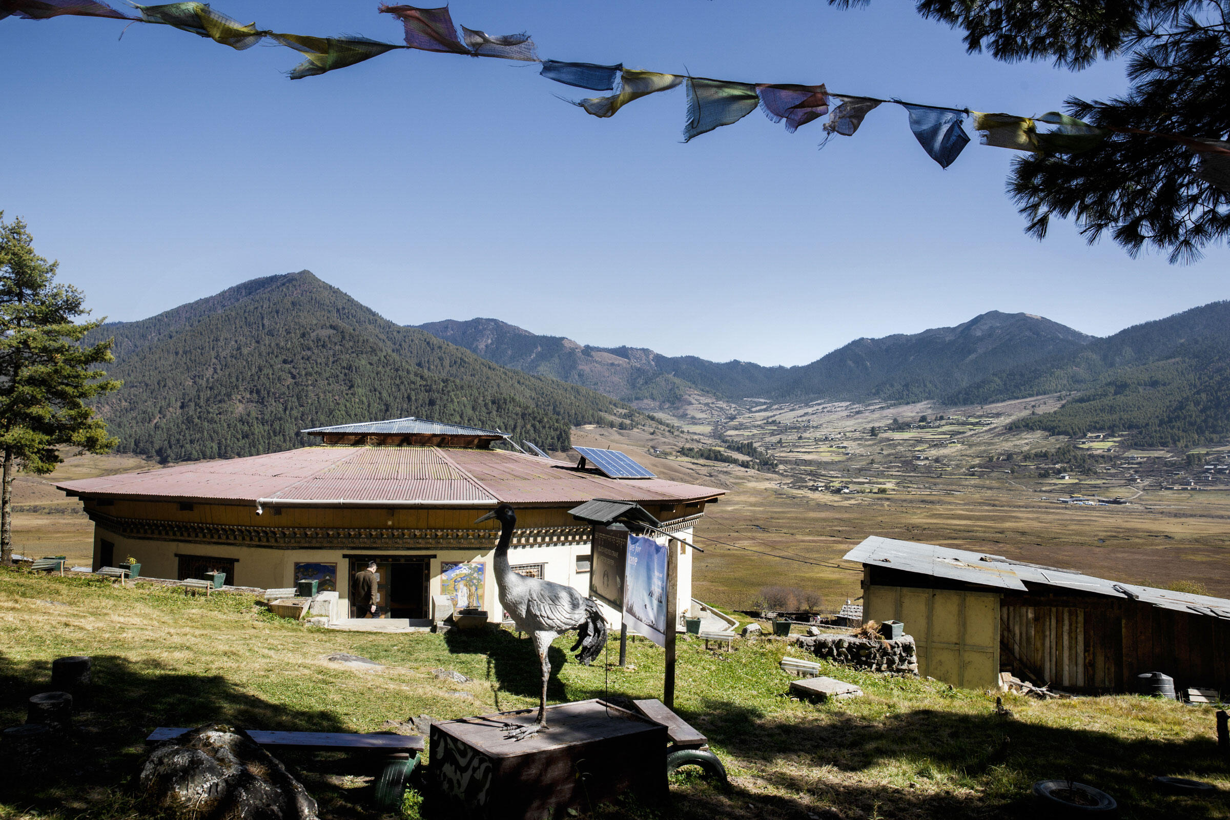 The Royal Society for Protection of Nature's (RSPN) Black-necked Crane information center in the Phobjikha Valley. Ambika Singh