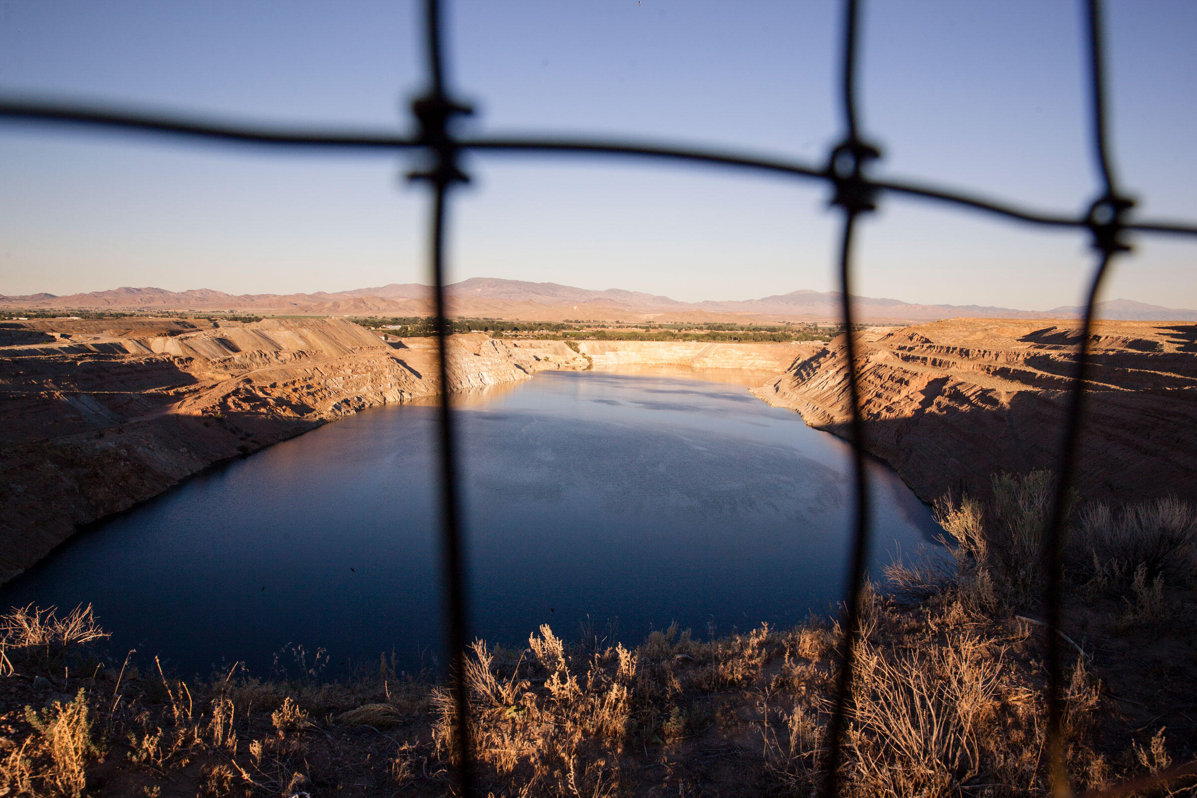 The pit lake at the Anaconda Mine near Yerington, Nevada. The pit is a half mile wide, and 810 feet deep. Maggie Starbard