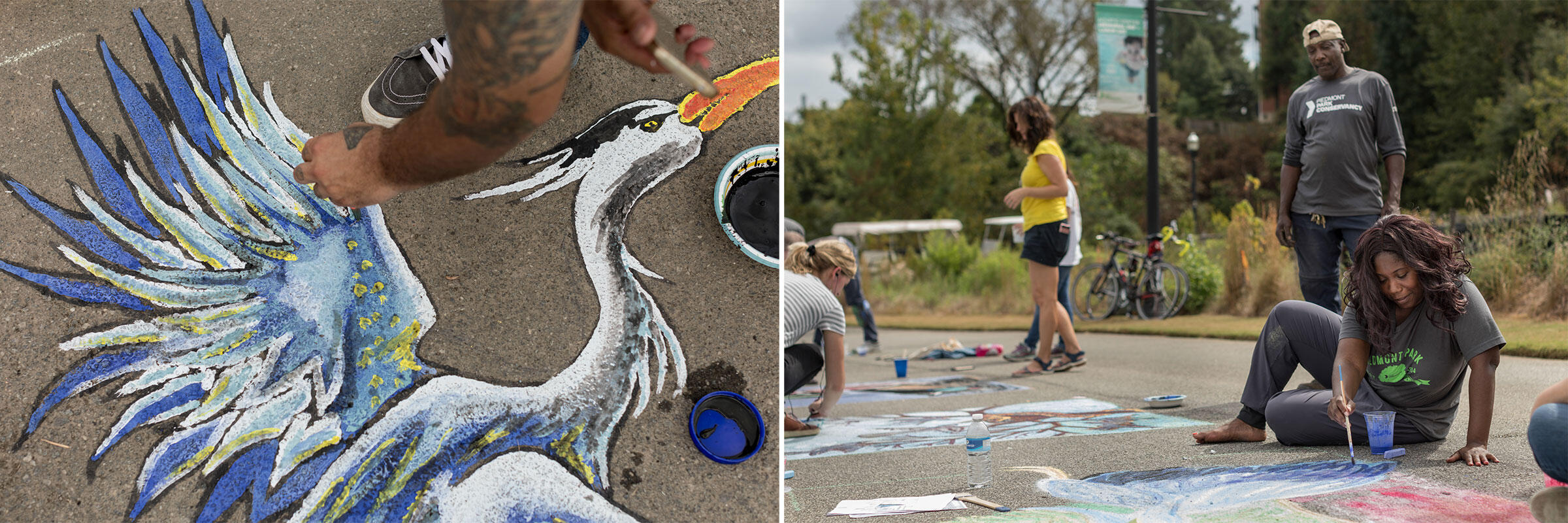 Two artists from the Piedmont Park Conservancy etch a Great Blue Heron and other chalky scenes into the walking path around the Commons. Photos: Jessie Parks