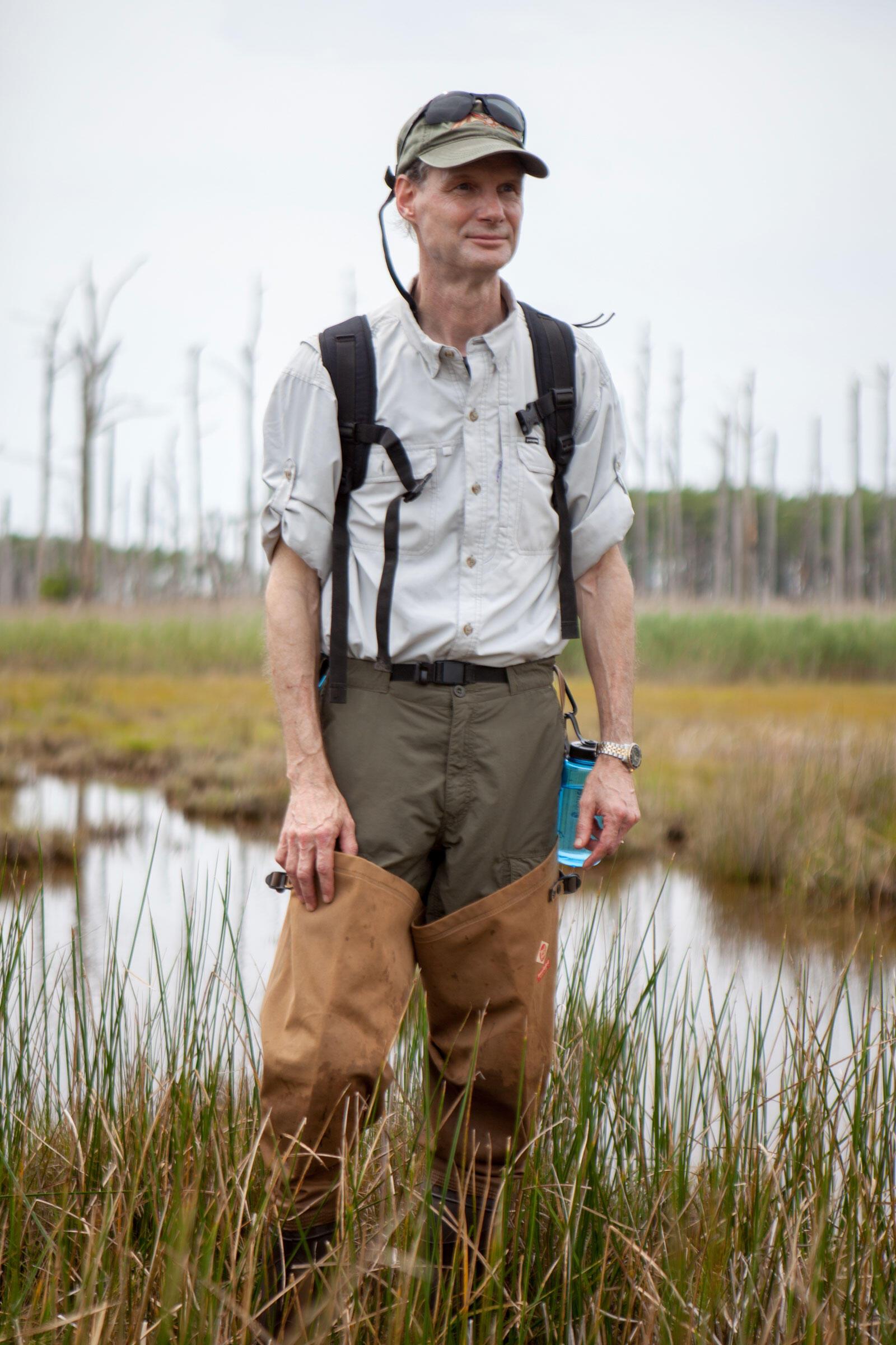 Hugh Simmons, president of the Chesapeake Audubon Society and NAS board member, hikes through Farm Creek Marsh before the restoration project begins. Camilla Cerea/Audubon