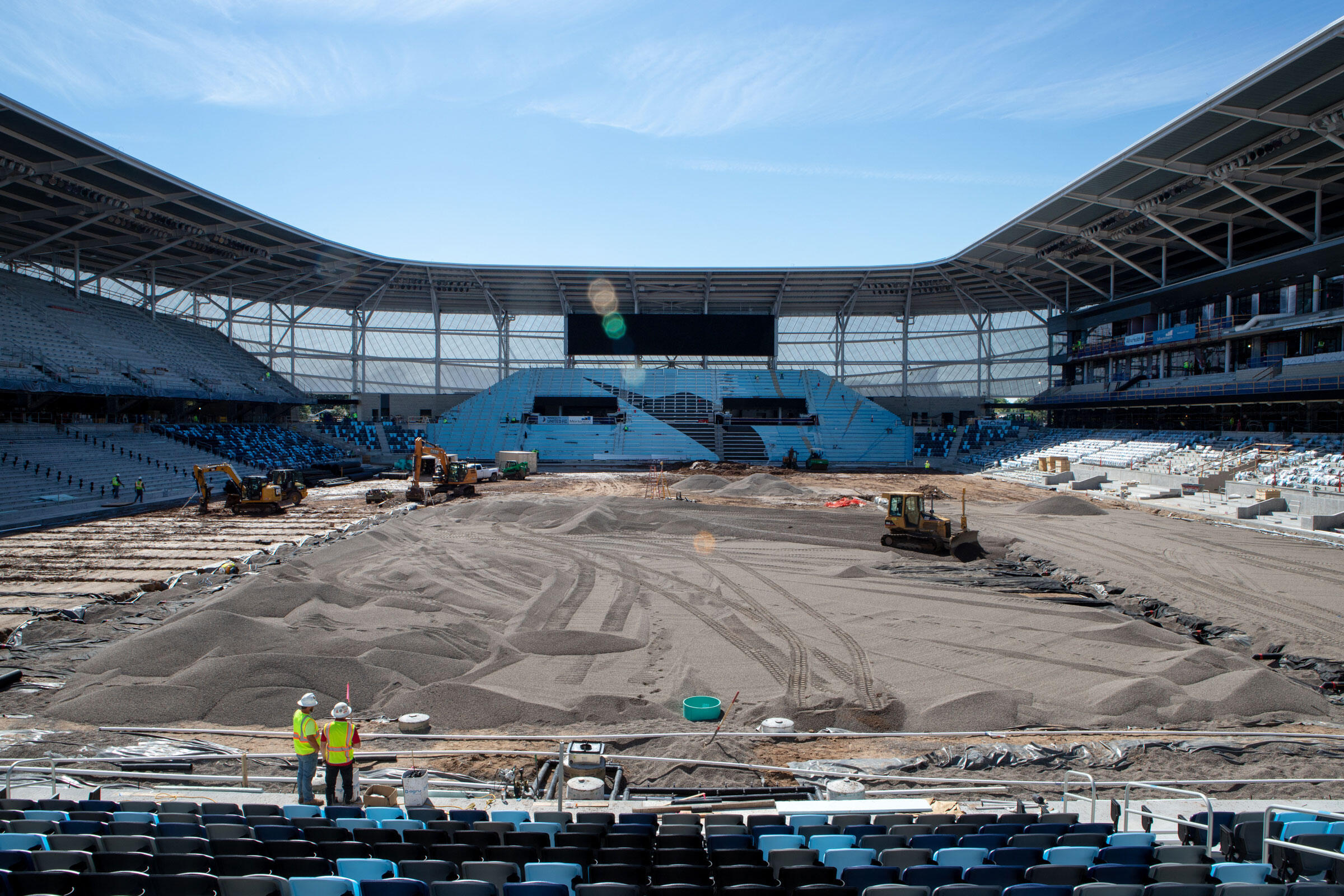 The exterior of Allianz Field has little glass, but fans will still be able to discern features outside the stadium through the translucent PTFE material that makes up the majority of the facade.