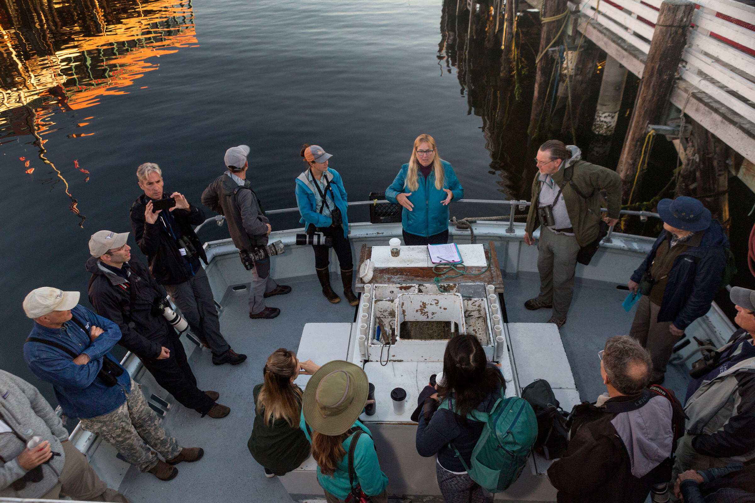 Shearwater gives an introduction and safety talk to a group of birding enthusiasts. Lauren Owens Lambert
