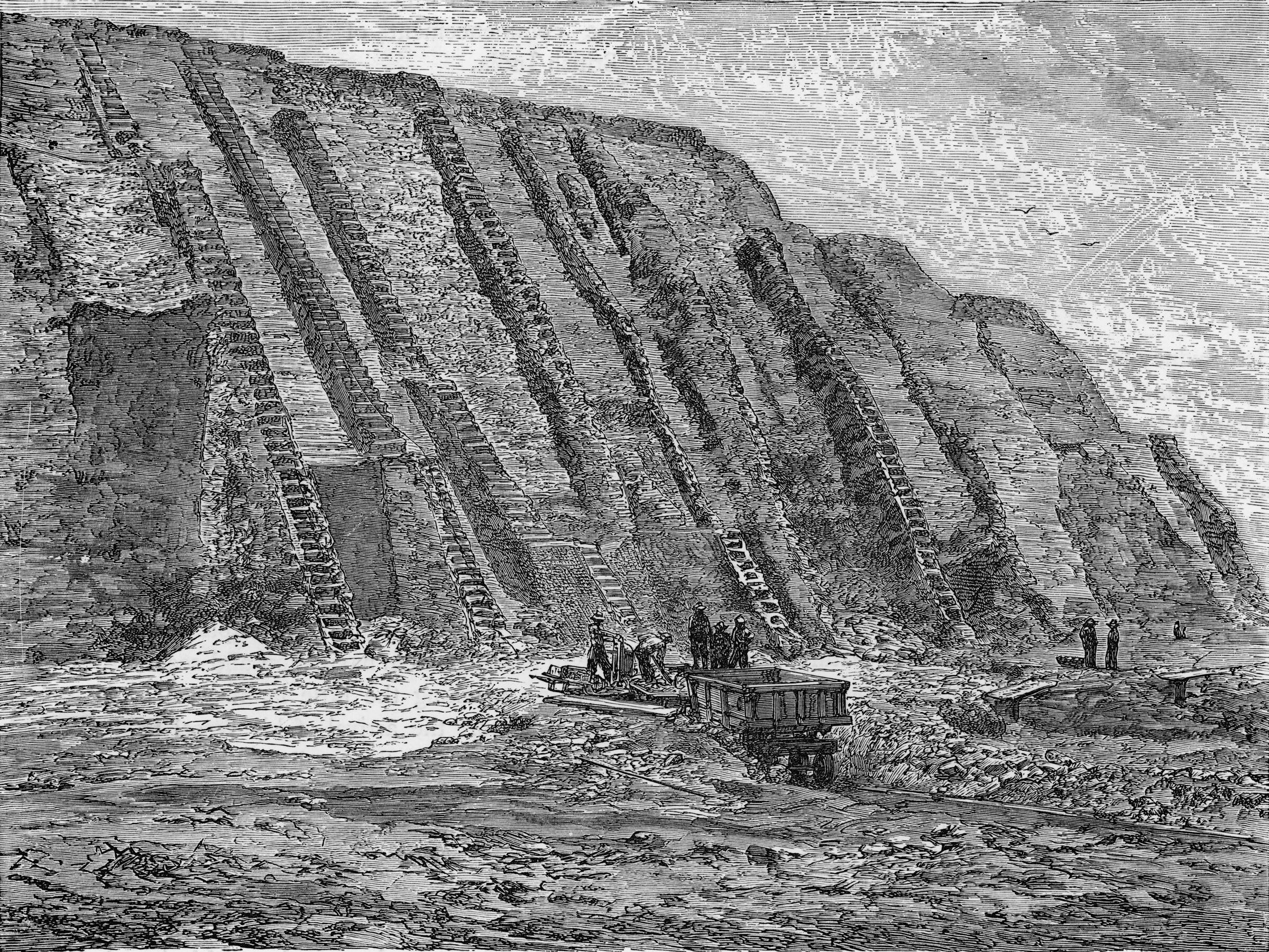 Guano mining operations depicted in the Chincha Islands, Peru around 1870. The deposits of seabirds were sought after as prized fertilizer in the nineteenth century. Engraving: Chronicle/Alamy