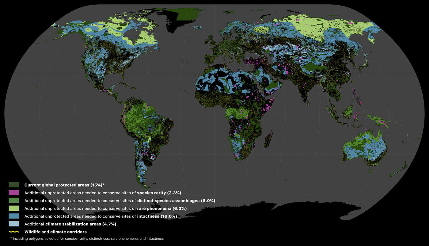 Areas of the terrestrial realm where increased conservation action is needed to protect biodiversity and store carbon. Dinerstein et al., Science Advances 04 Sep 2020 https://advances.sciencemag.org/content/6/36/eabb2824