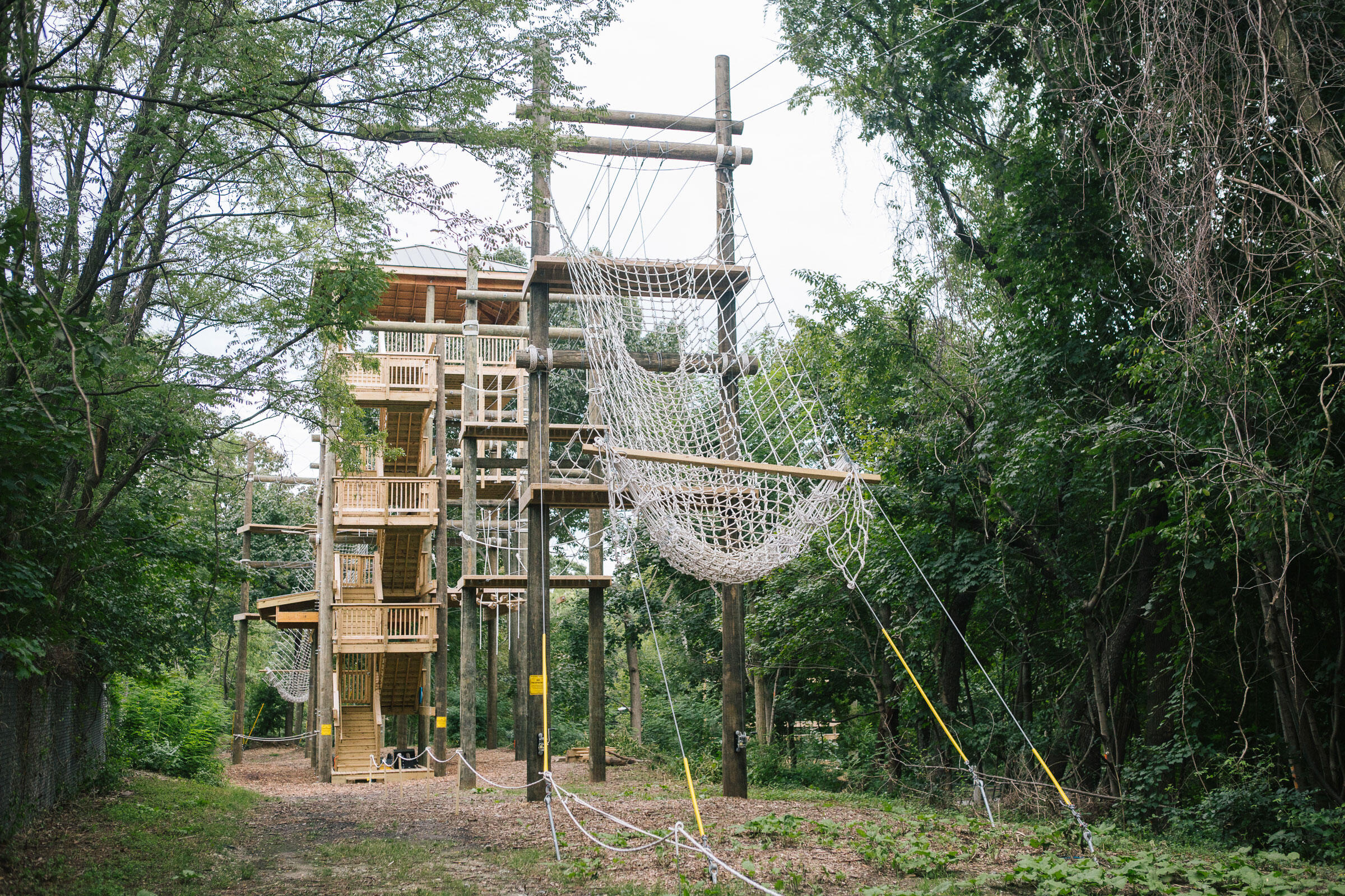 Philadelphia Outward Bound School's challenge course and viewing tower at The Discovery Center. Michelle Gustafson