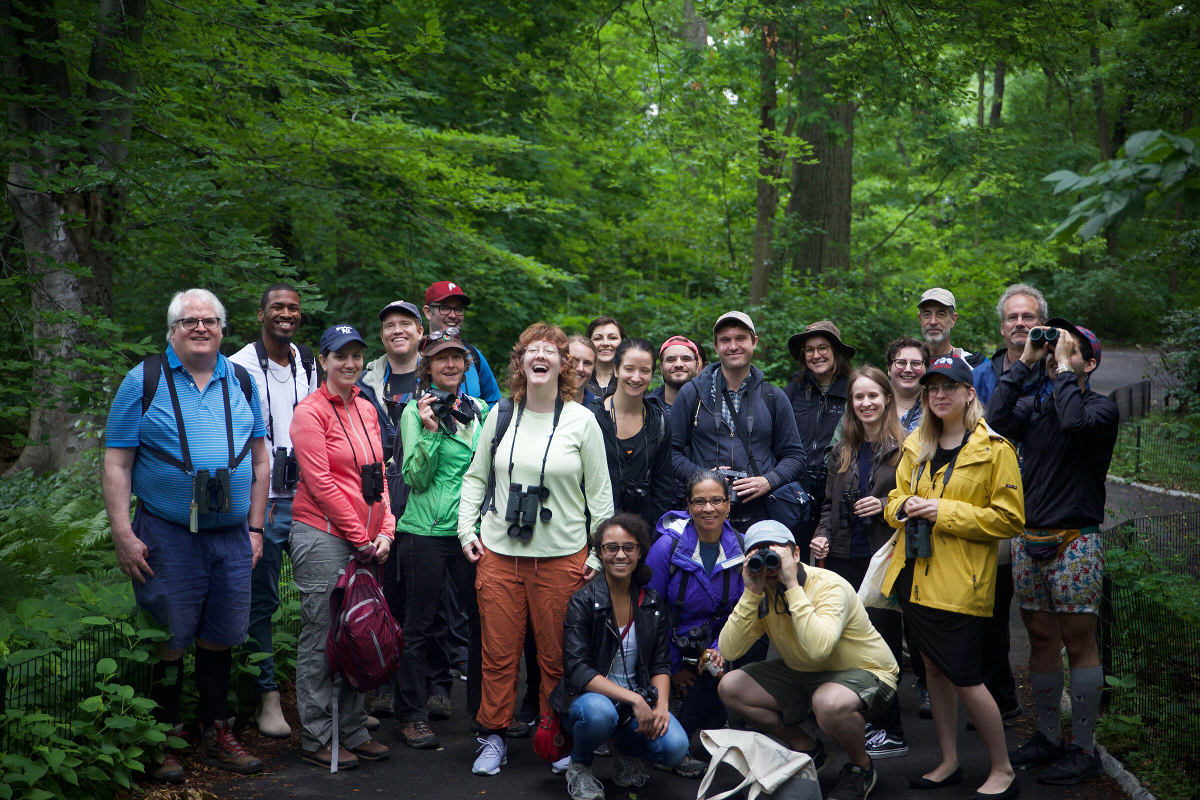 The Let's Go Birding Together NYC crew. The walk was coordinated by National Audubon and New York City Audubon, and co-led by Martha Harbison, Andrew Maas, Andrew Rubenfeld, and Purbita Saha. Eileen Solange Rodriguez/Audubon