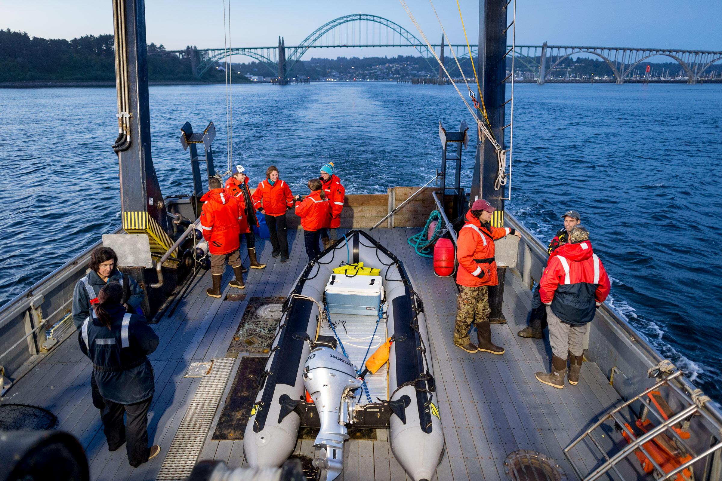 The elite seabird team sets off on the Pacific Storm from Newport, Oregon. Jaymi Heimbuch