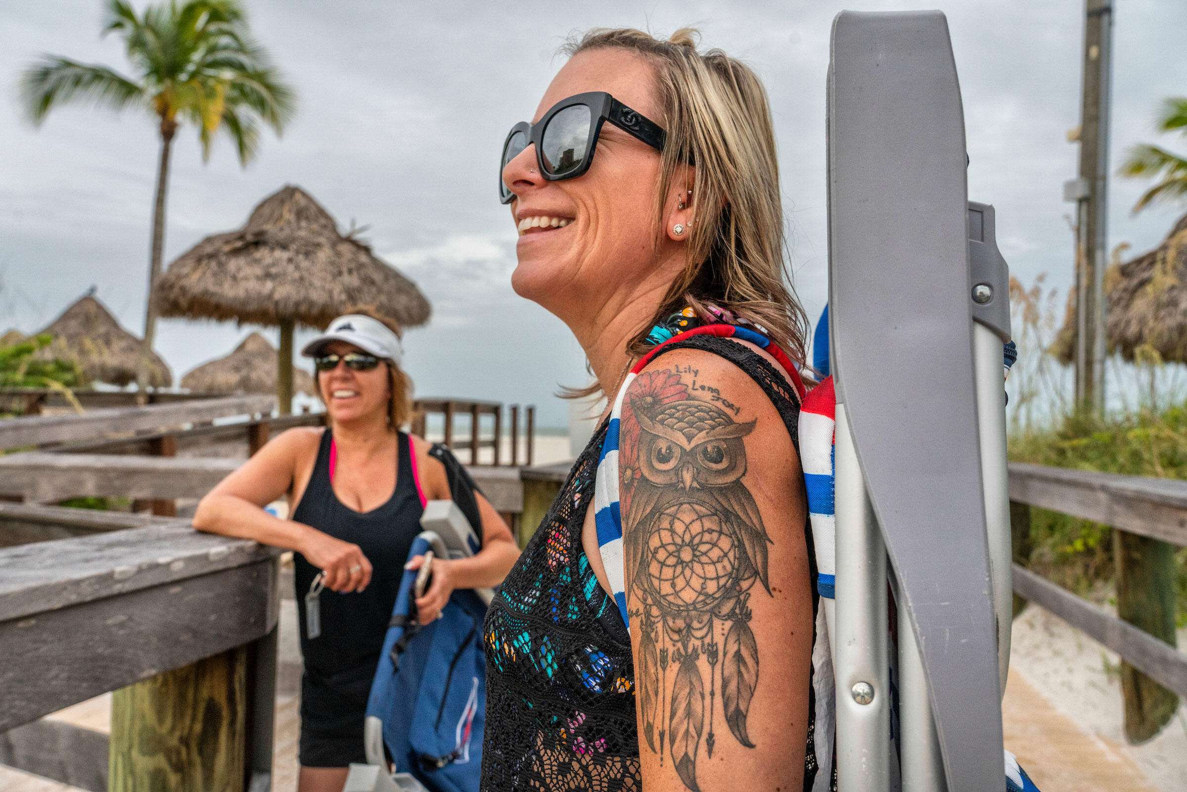 """Danielle Lepski says she is 'owl obsessed,"""" as evidenced by her tattoo. A New Jersey resident, she loves to see the owls when visiting her in-laws on Marco Island. Karine Aigner"""