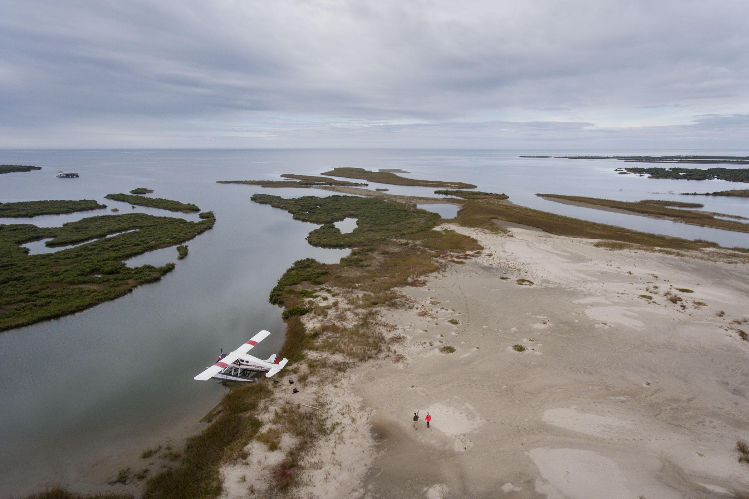 Kara Lankford and Erik Johnson patrol the Chandeleur Islands. Mac Stone