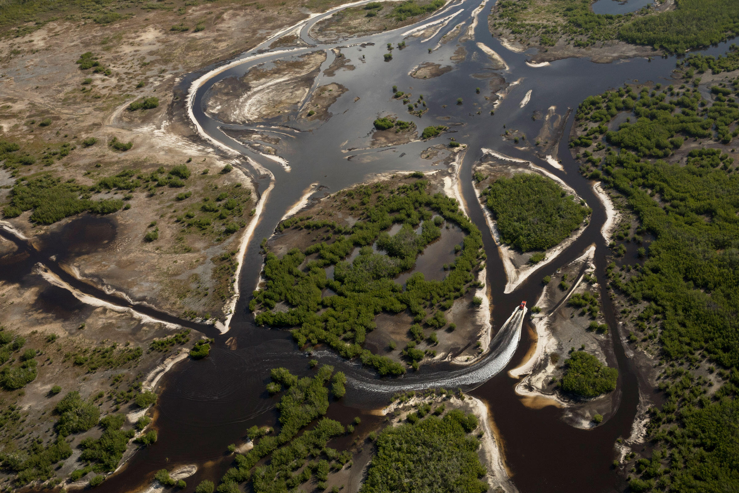 The most effective way to travel through the wetlands, an airboat navigates the sinuous waterways of the Everglades. Mac Stone