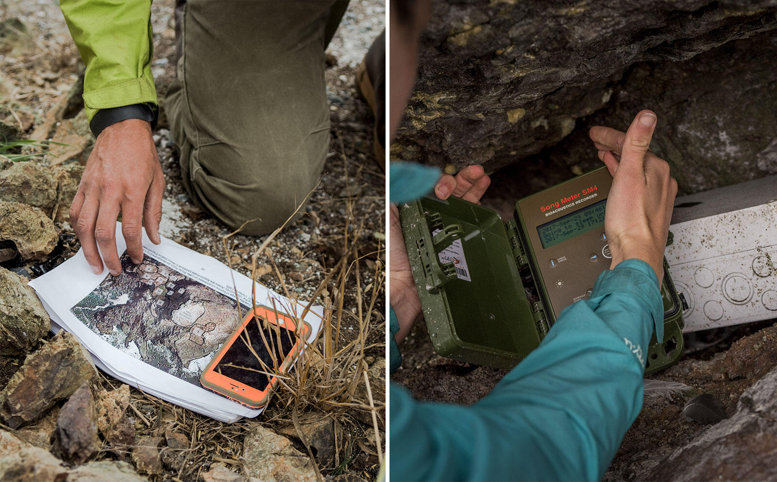 Kelsey and Felis consult maps created by their predecessors and check on an acoustic recorder. Photos: Jim McAuley
