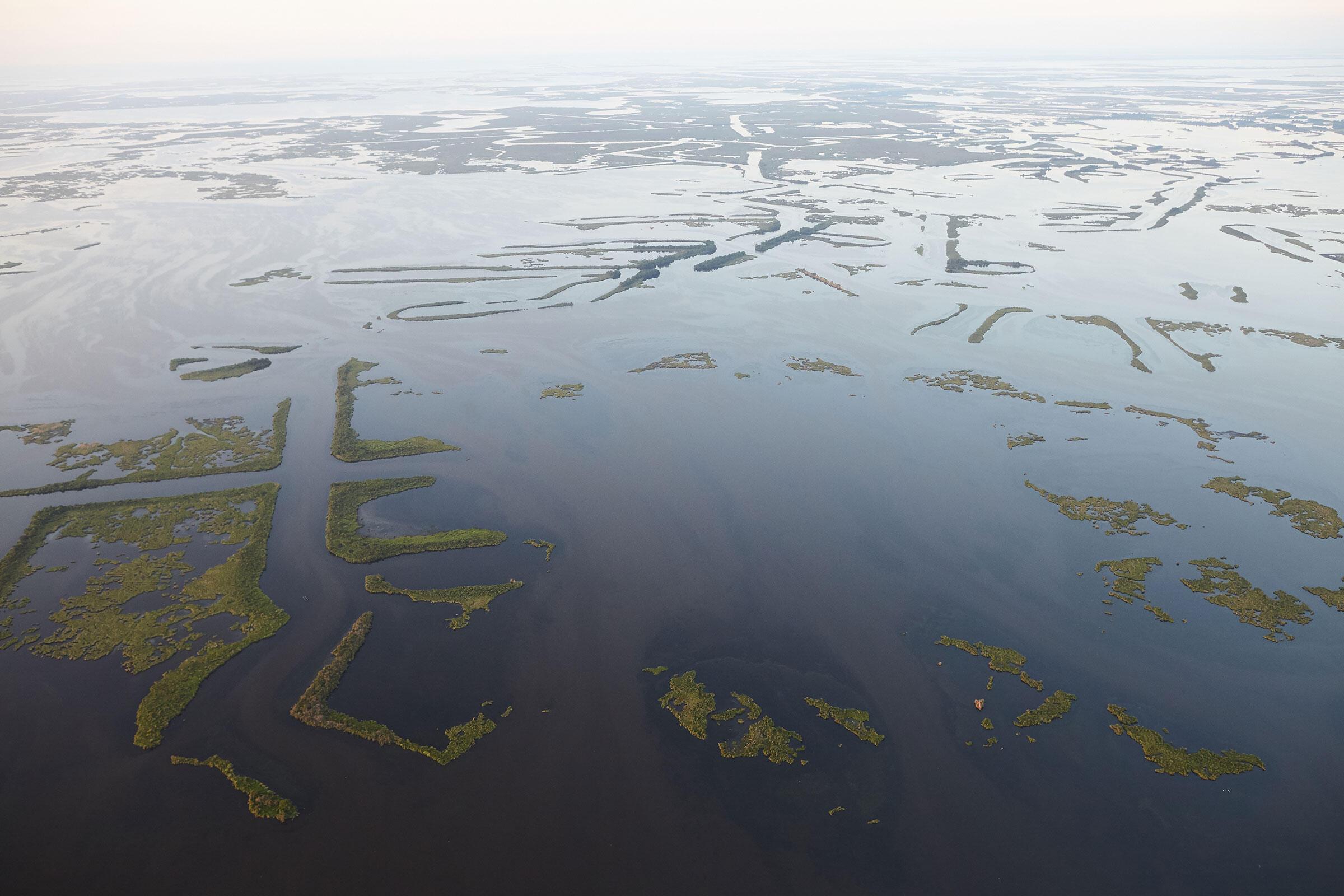 Erosion along Louisiana's sediment-starved coast.