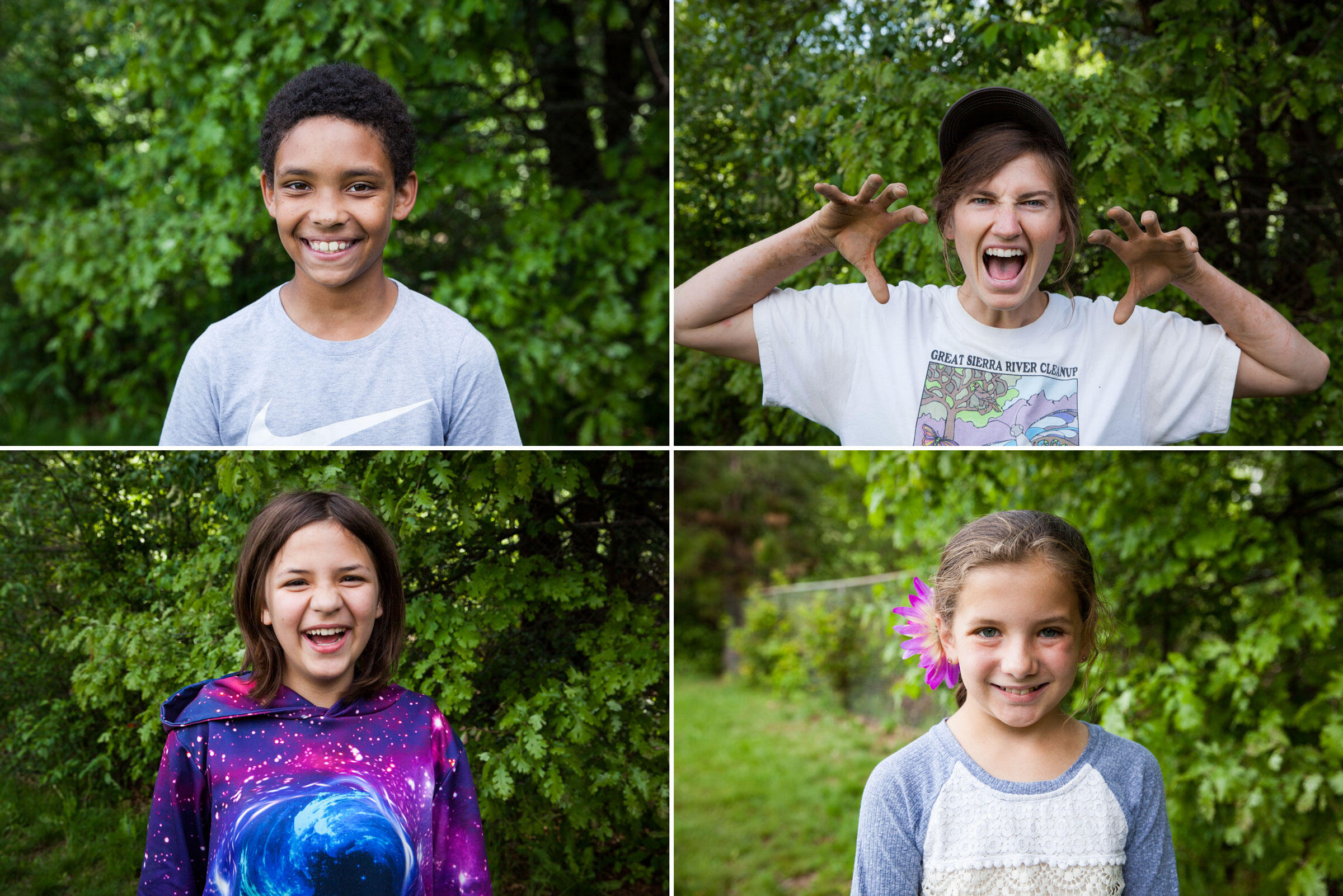 Clockwise from top left: Plumas County fifth-grade students Tommy Donahue, Emily Bryant, Johanna Stoermer and Morganne Olhiser. Photos: Maggie Starbard