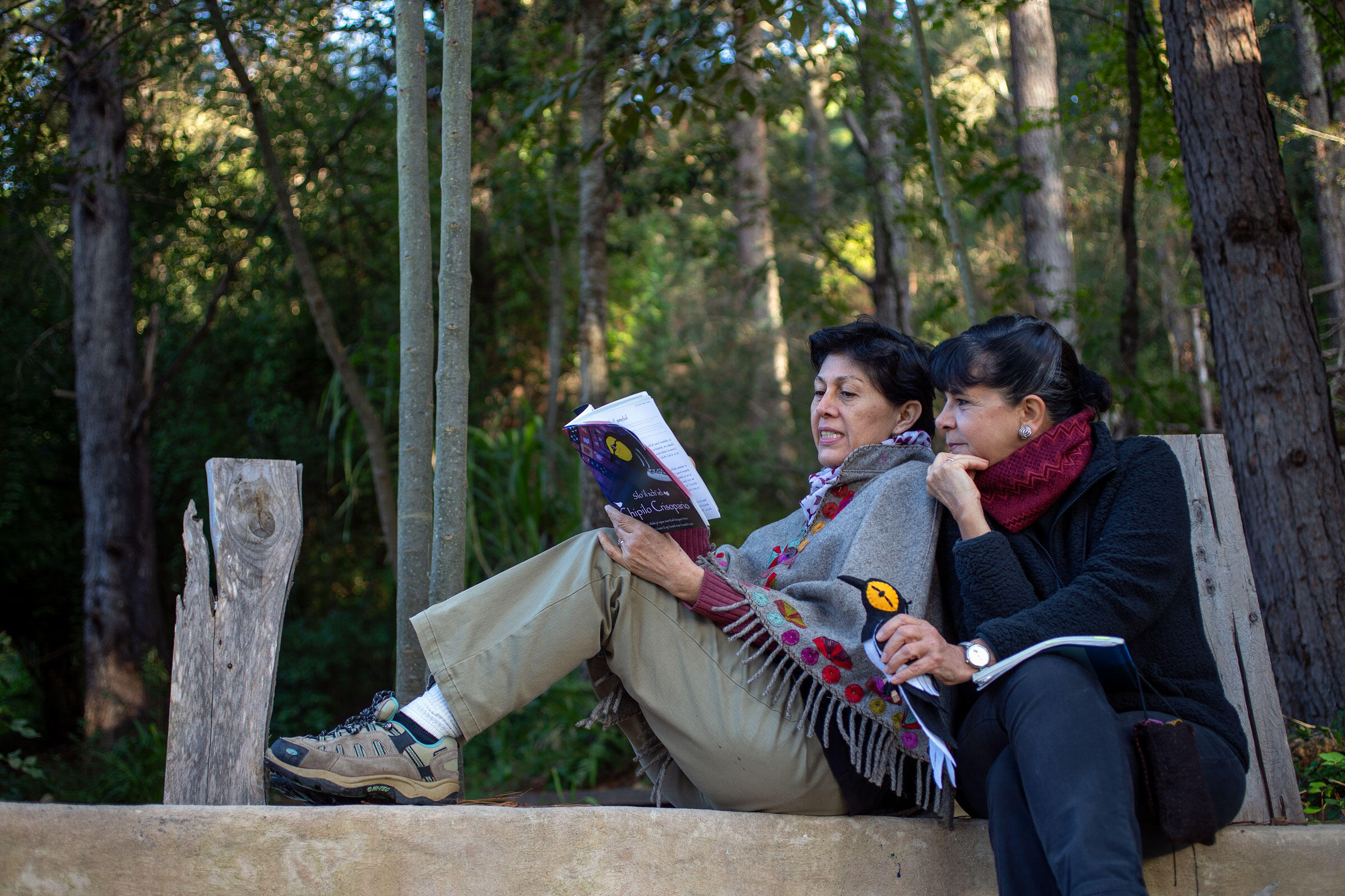 Pronatura's Claudia Macías Caballero (left) and Maria de los Angeles Azuara, holding a plushy Golden-cheeked Warbler, readi Chipilo's story in Moxviquil Ecological Reserve in Chiapas, where some of the songbirds overwinter. Jorge Silva Rivera