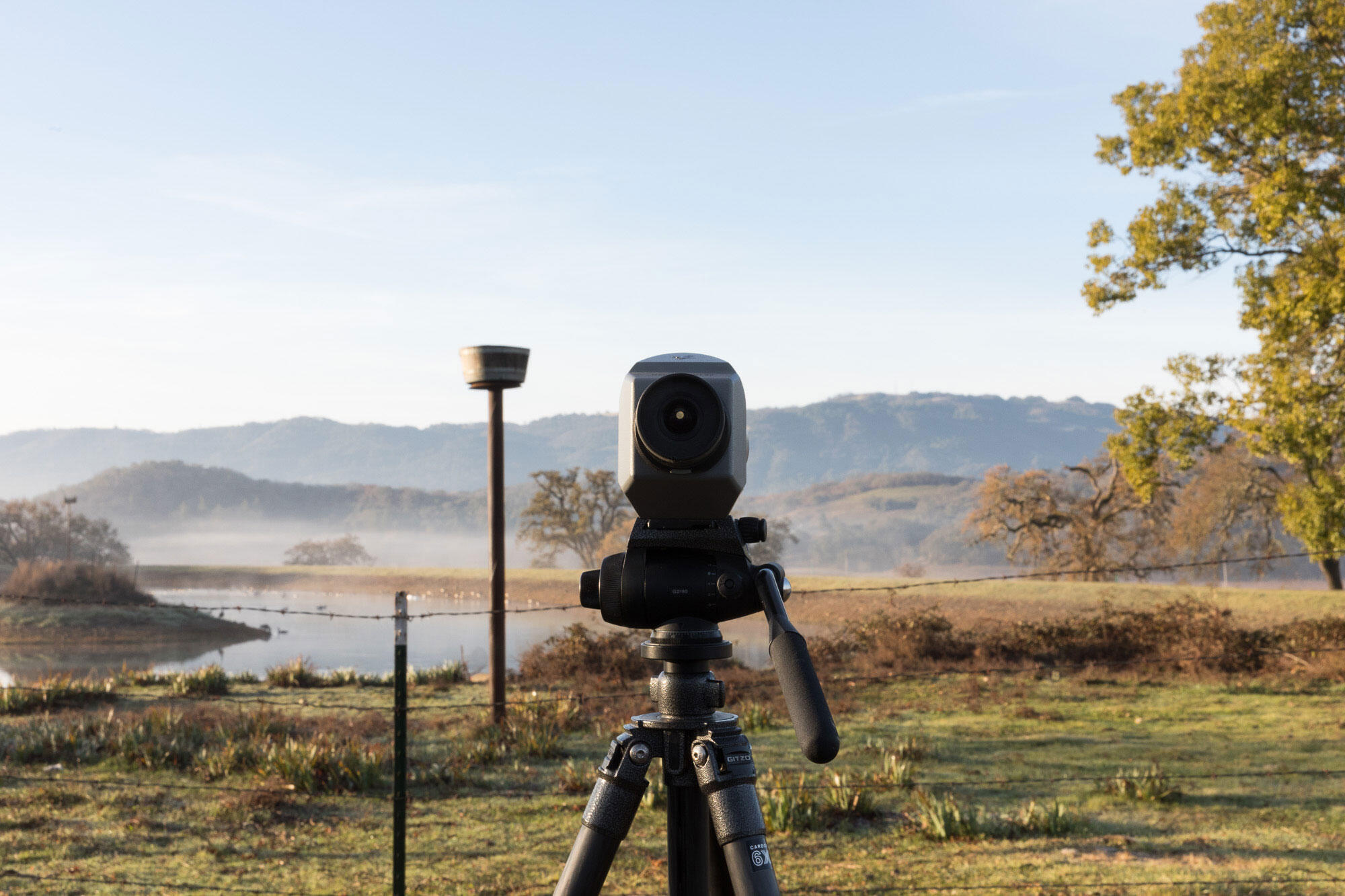 A scope peers into Wildwood Ranch, the only unburned area within the Trinity birding circle. Ryan Young