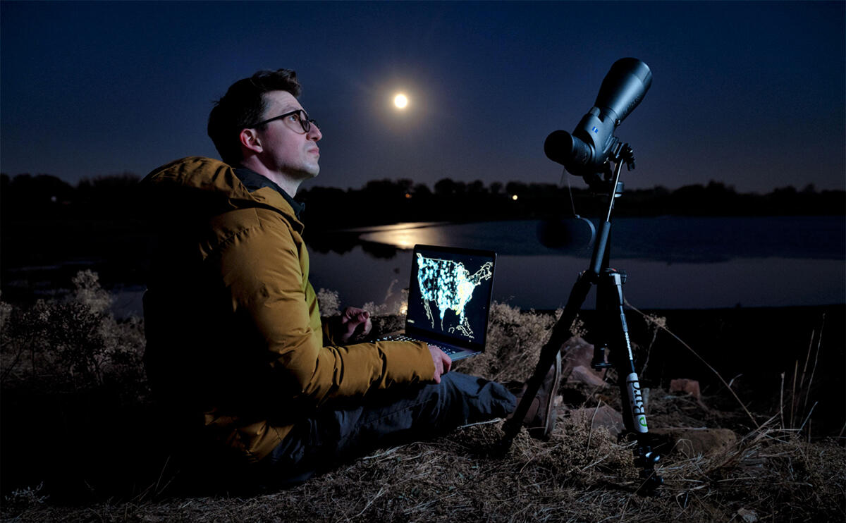 Kyle Horton monitors nocturnal migrants in northern Colorado. He combines weather radar with advances in computing power to map bird movements at night. Keith Ladzinski