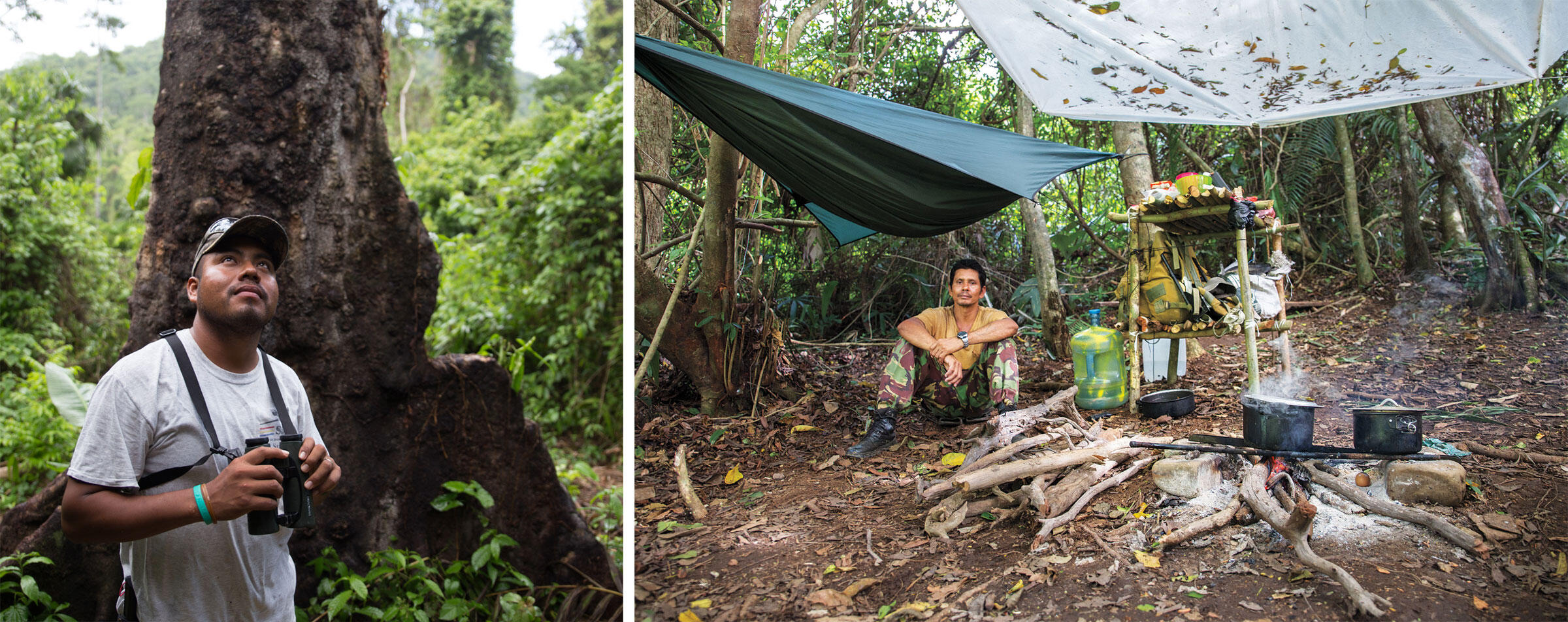From left: Isael Mai stands in front of one of the trees with an active macaw nest. Albert Woodye takes a break in one of the rangers' camps near an active nest. Photos: Camilla Cerea/Audubon