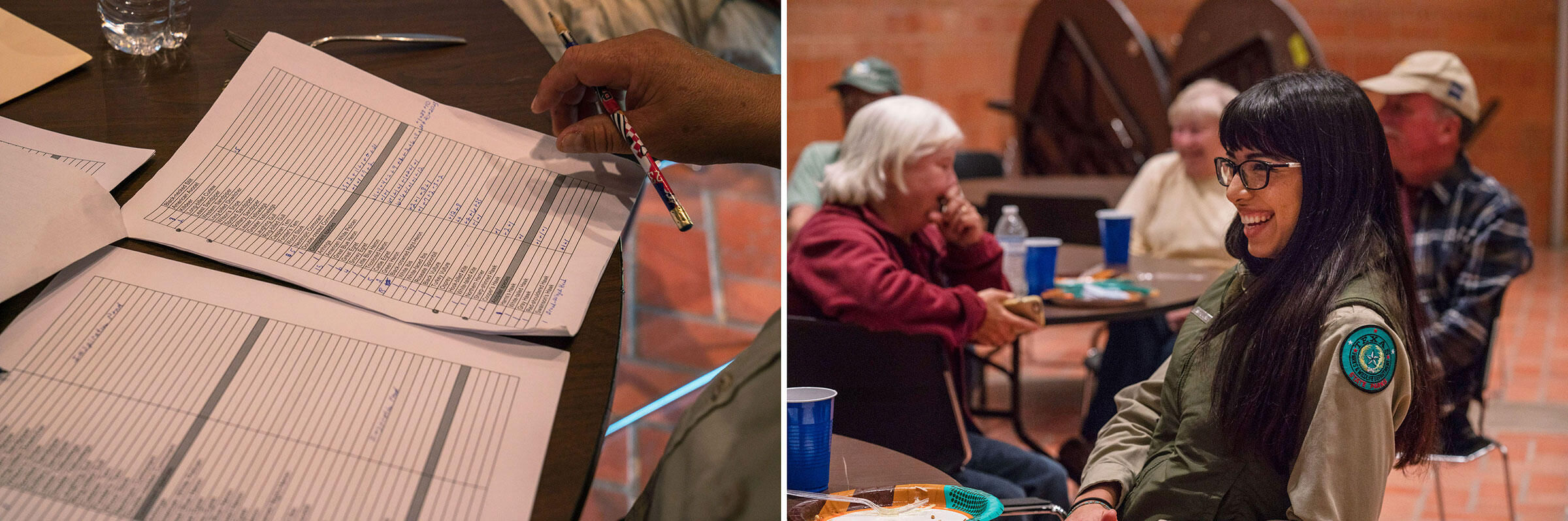 Texas Parks and Wildlife interpreter Angela Rojas and volunteers share their findings from the Christmas Bird Count during their potluck gathering at the end of a long day. Photos: Verónica G. Cárdenas