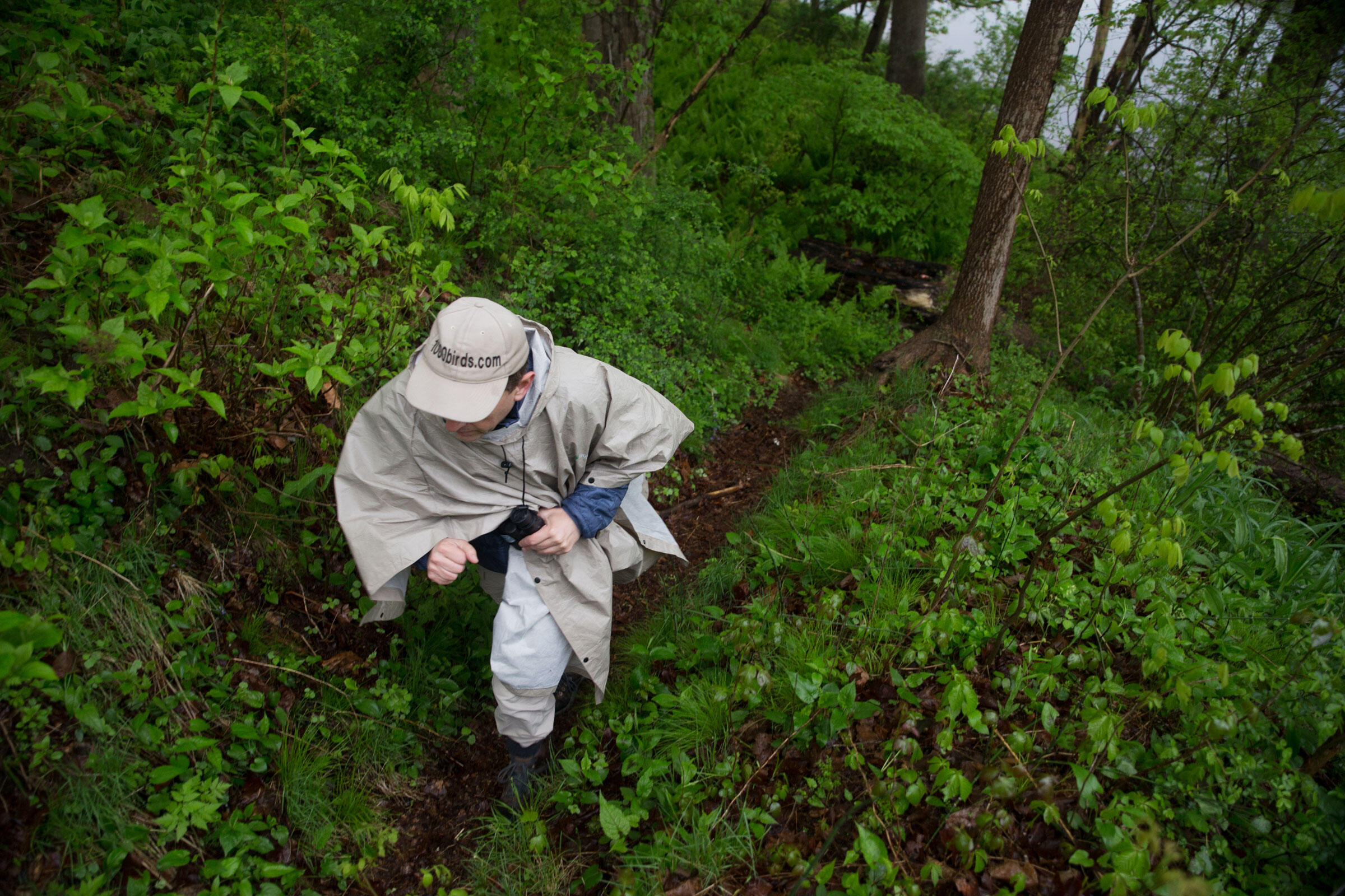 Nick Kontonicolas of 1000birds makes his way up a muddy slope after a successful race down to find a Common Merganser. Camilla Cerea/Audubon