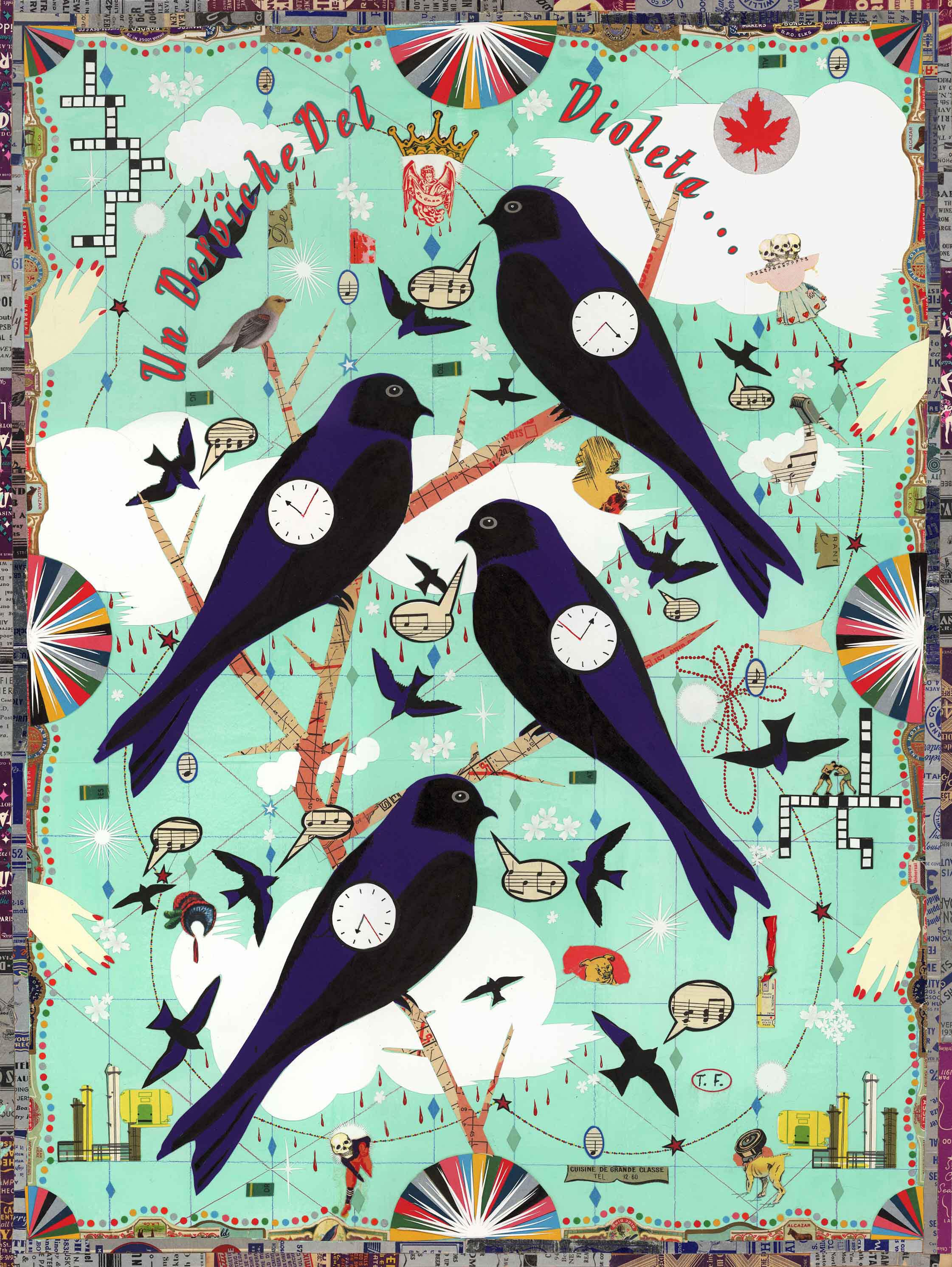 """A Dervish of Violet (Purple Martins)."" Illustration: Tony Fitzpatrick"