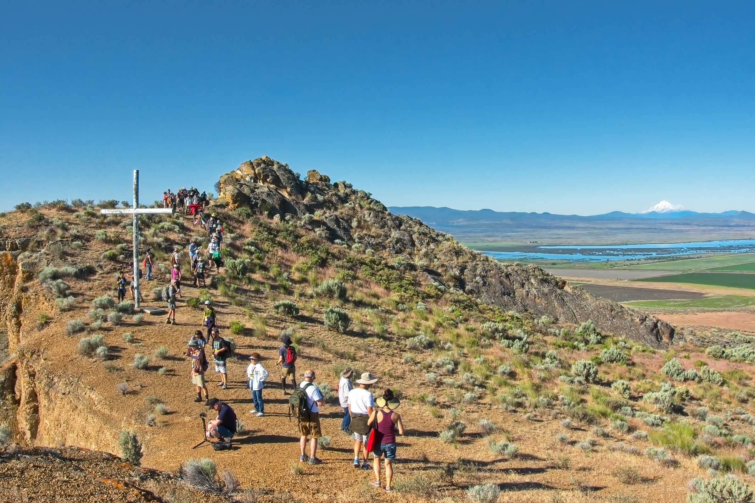 The Tule Lake Segregation Center in California once held 18,000 incarcerees. A hike to the top of Castle Rock gives a view of the memorial, the neighboring national wildlife refuge, and the larger Klamath Valley. Glenn Nelson