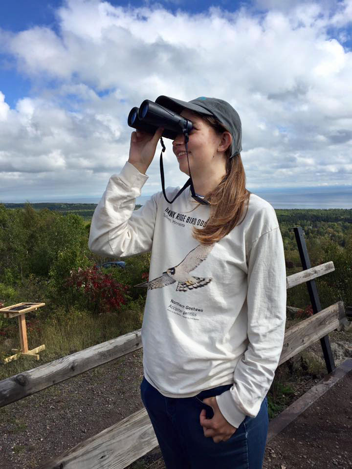 Hawk Ridge count trainee Amy West wears a T-shirt depicting a Northern Goshawk, the emblem of the observatory. Karen Stubenvoll/Hawk Ridge Bird Observatory