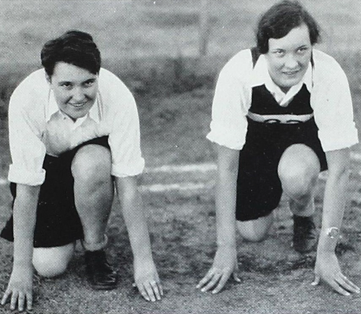 Roxie Collie, left, a track champion during her time at Meredith College in North Carolina. Seen here in her school's 1930 yearbook. Courtesy of Meredith College