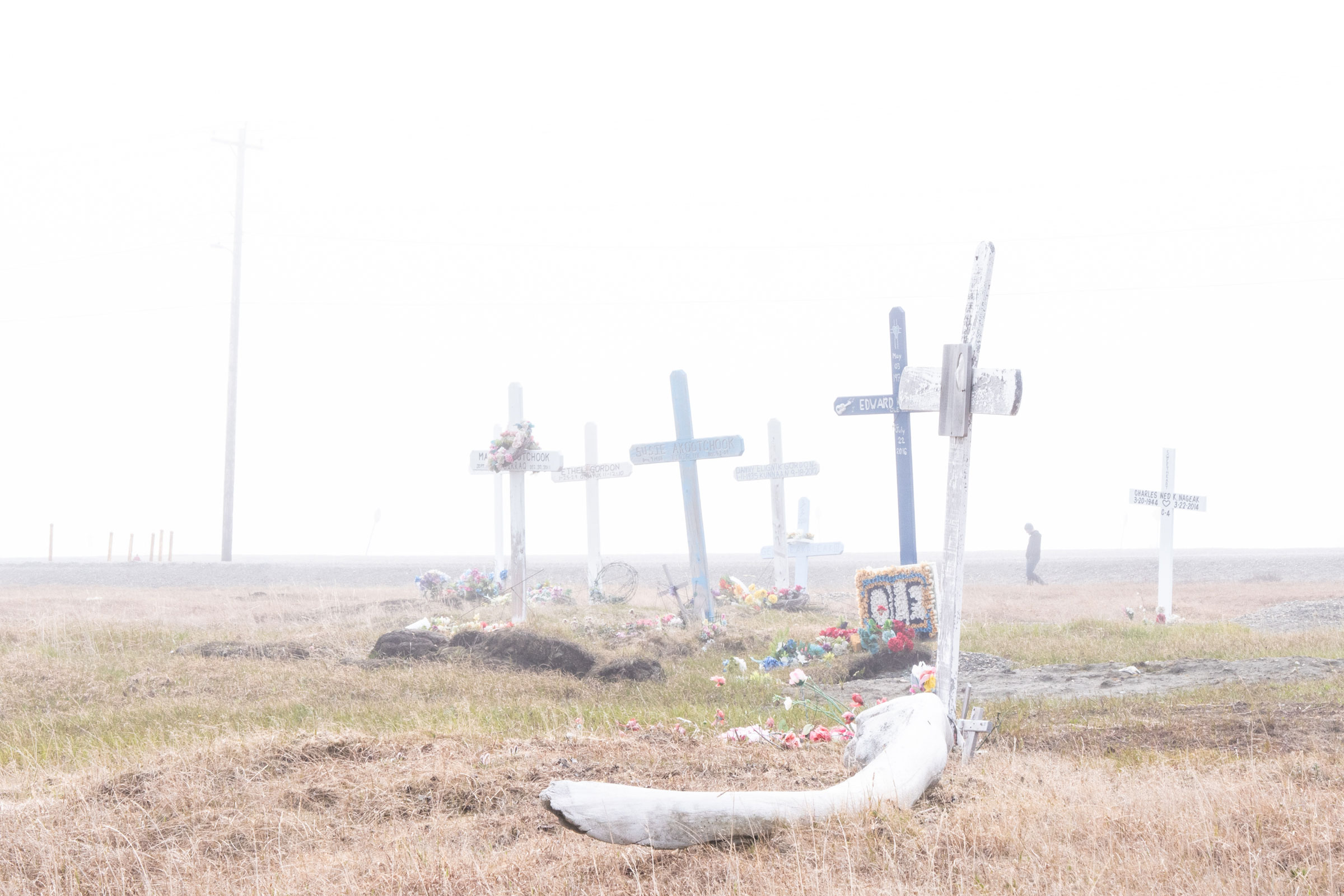 A graveyard in the Inupiat community of Kaktovik. Peter Mather