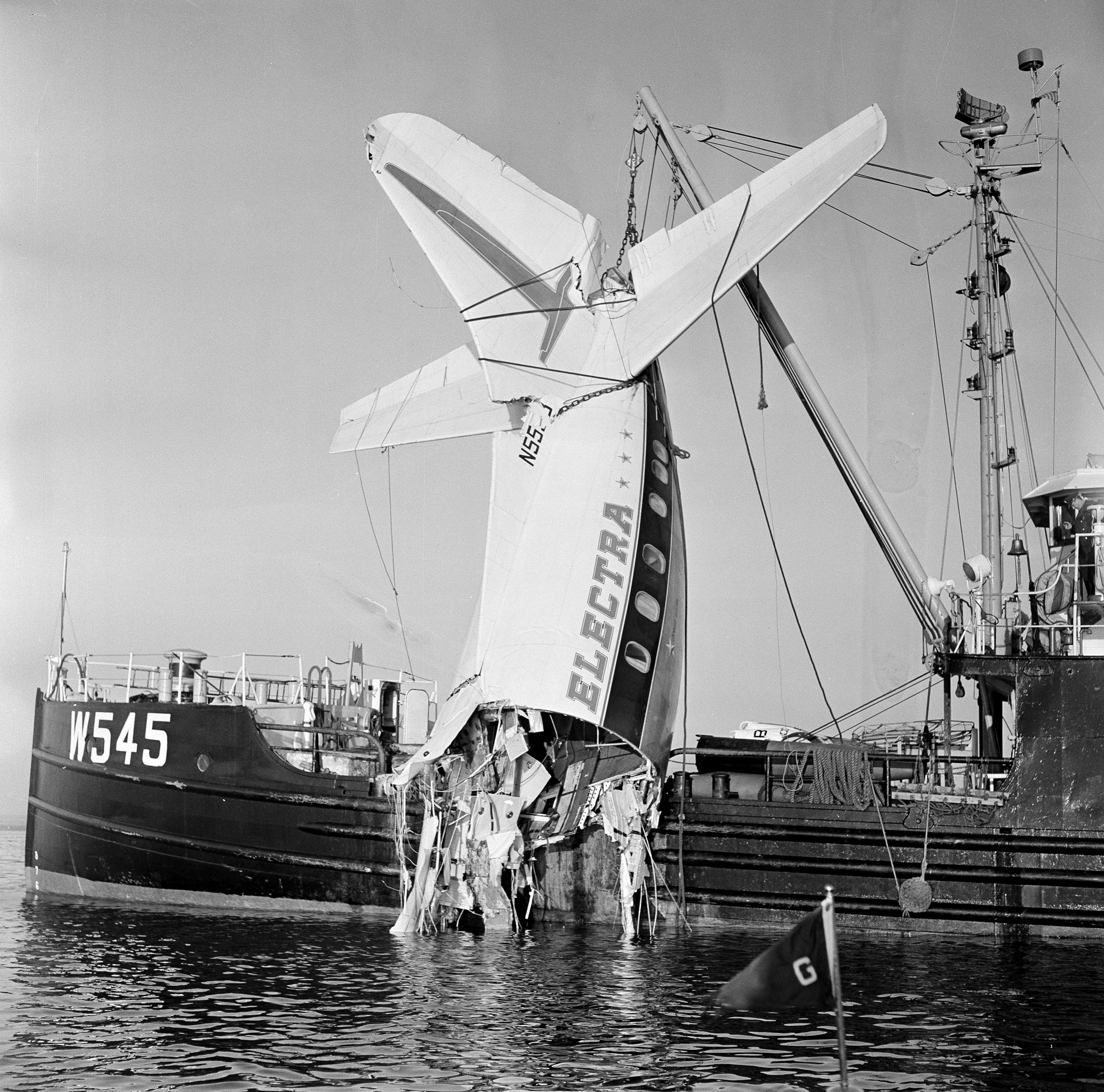 Authorities lift the tail of a Lockheed Electra L-188 from Boston Harbor, where Eastern Airlines Flight 375 crashed on October 4, 1960. The accident, caused by a flock of starlings, touched off the field of forensic ornithology. Frank C. Curtin/AP Photo
