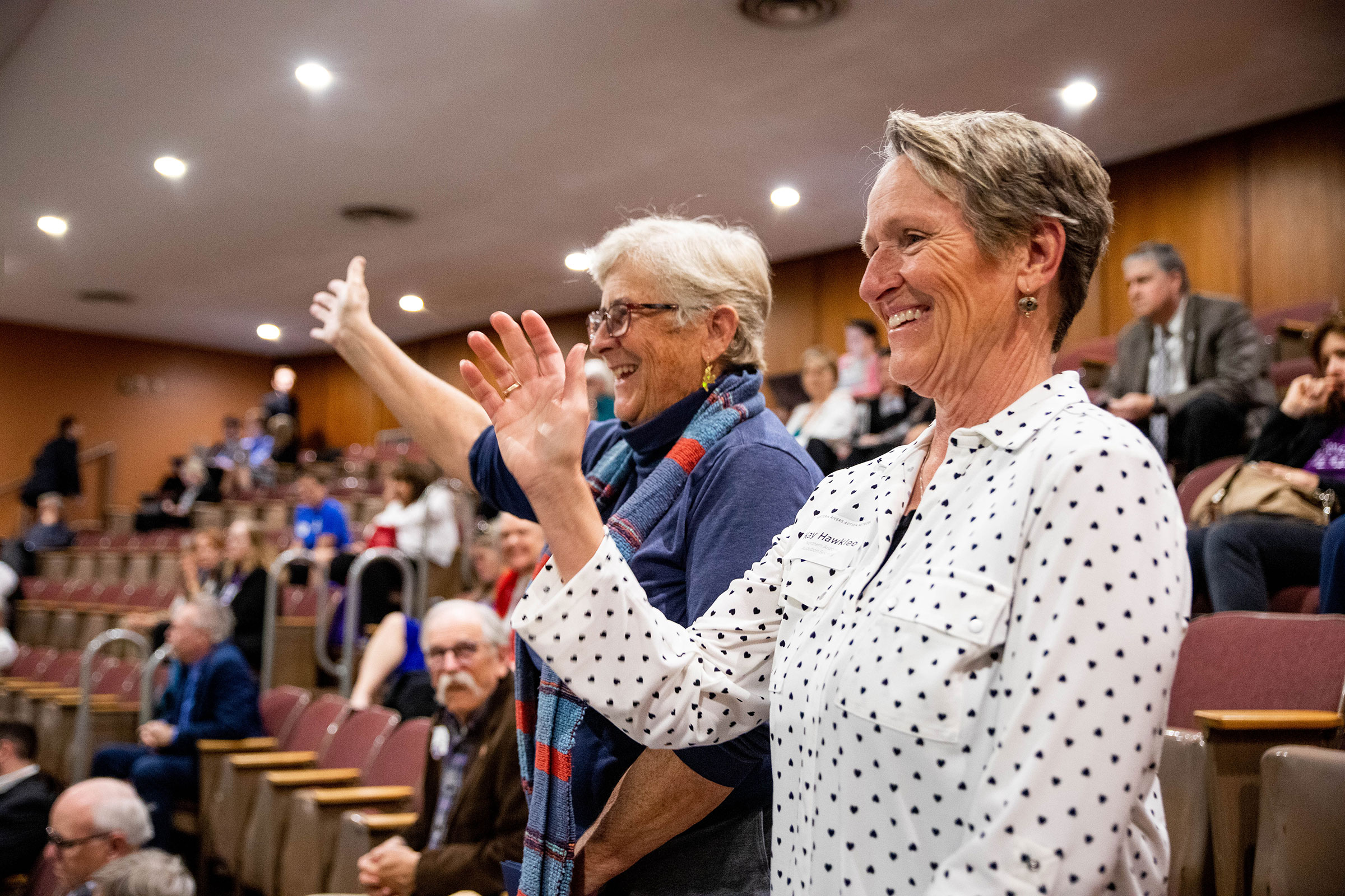 Tice Supplee, Audubon Arizona, and Kay Hawklee, Northern Arizona Audubon Society, stand as the Western Rivers Action Network is recognized with a point of personal privilege in the Arizona House of Representatives. Dominic Arenas/Audubon
