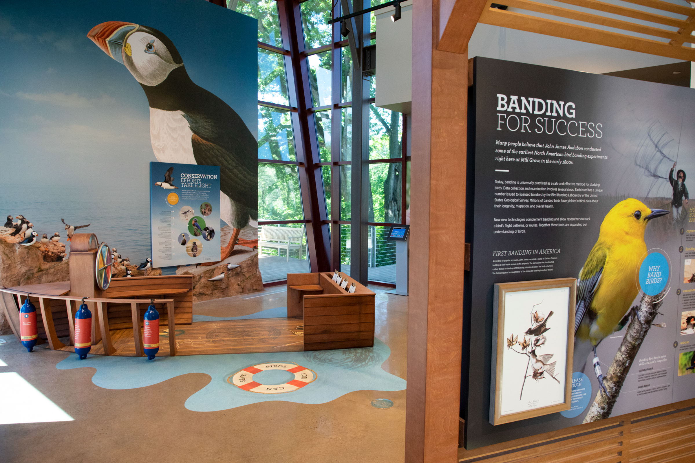 The Conservation Gallery highlights Audubon's Seabird Restoration Program and Project Puffin at the John James Audubon Center at Mill Grove on Tuesday, June 4, 2019 in Audubon, Pennsylvania. Luke Franke/Audubon